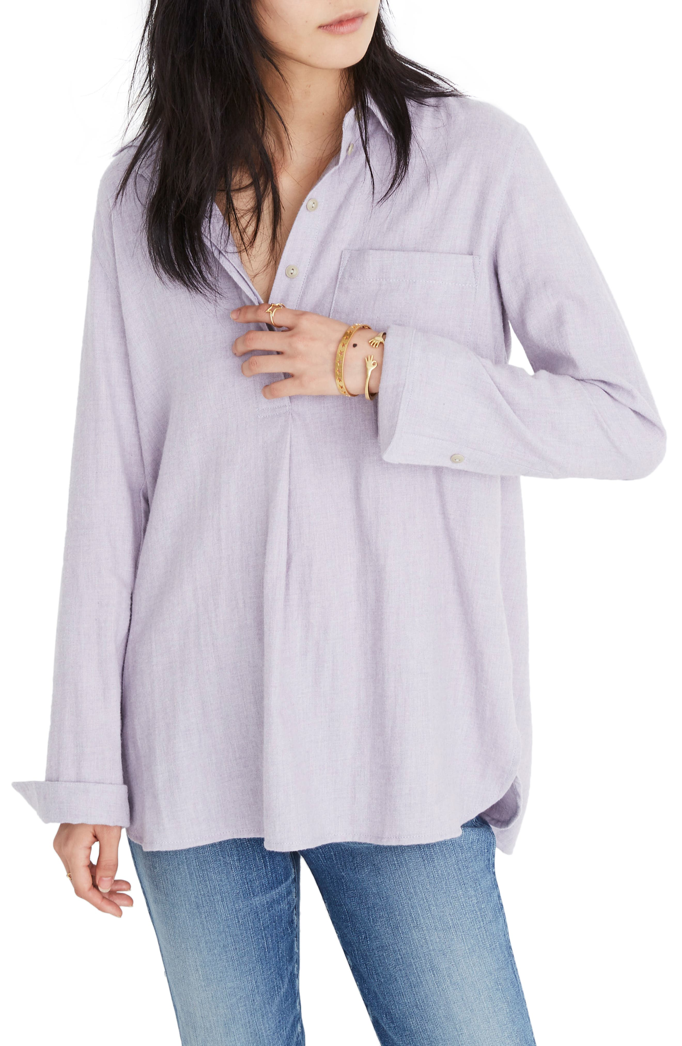 MADEWELL Ex-Boyfriend Button Back Flannel Shirt, Main, color, HEATHER THISTLE
