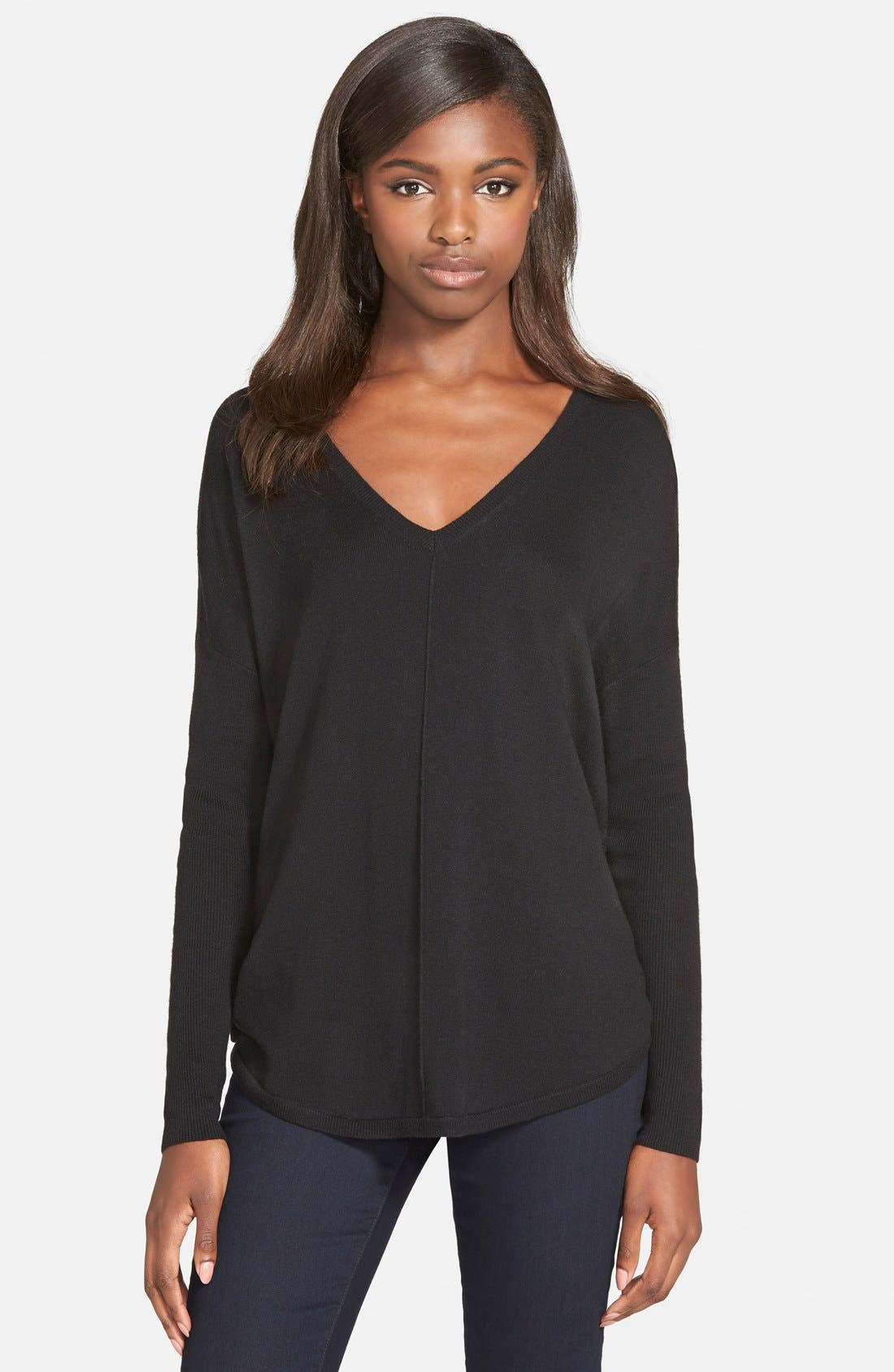 'Everyday' V-Neck Sweater,                             Main thumbnail 1, color,                             BLACK
