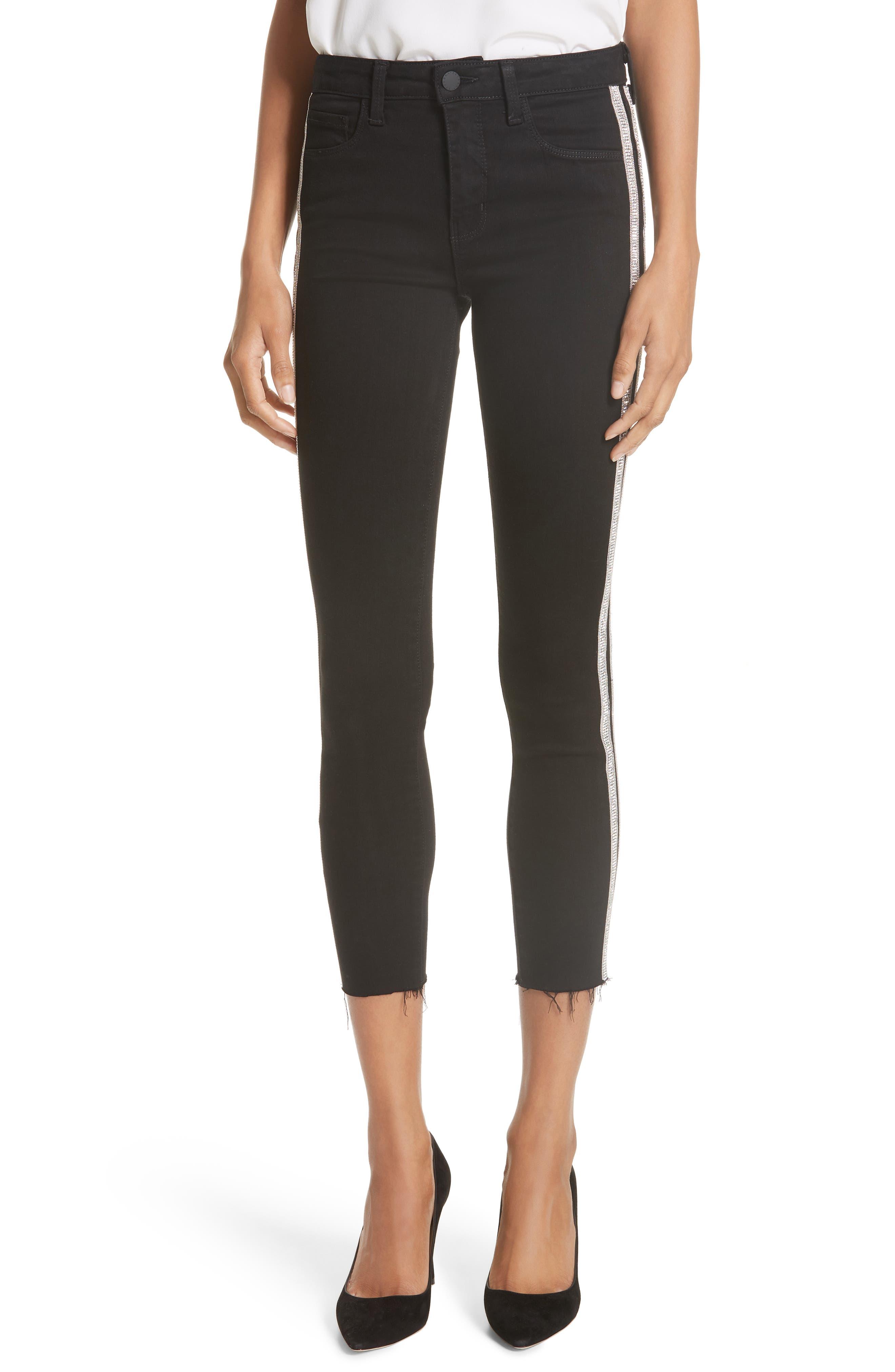 L'AGENCE,                             Margot Embellished Side Stripe Crop Skinny Jeans,                             Main thumbnail 1, color,                             NOIR