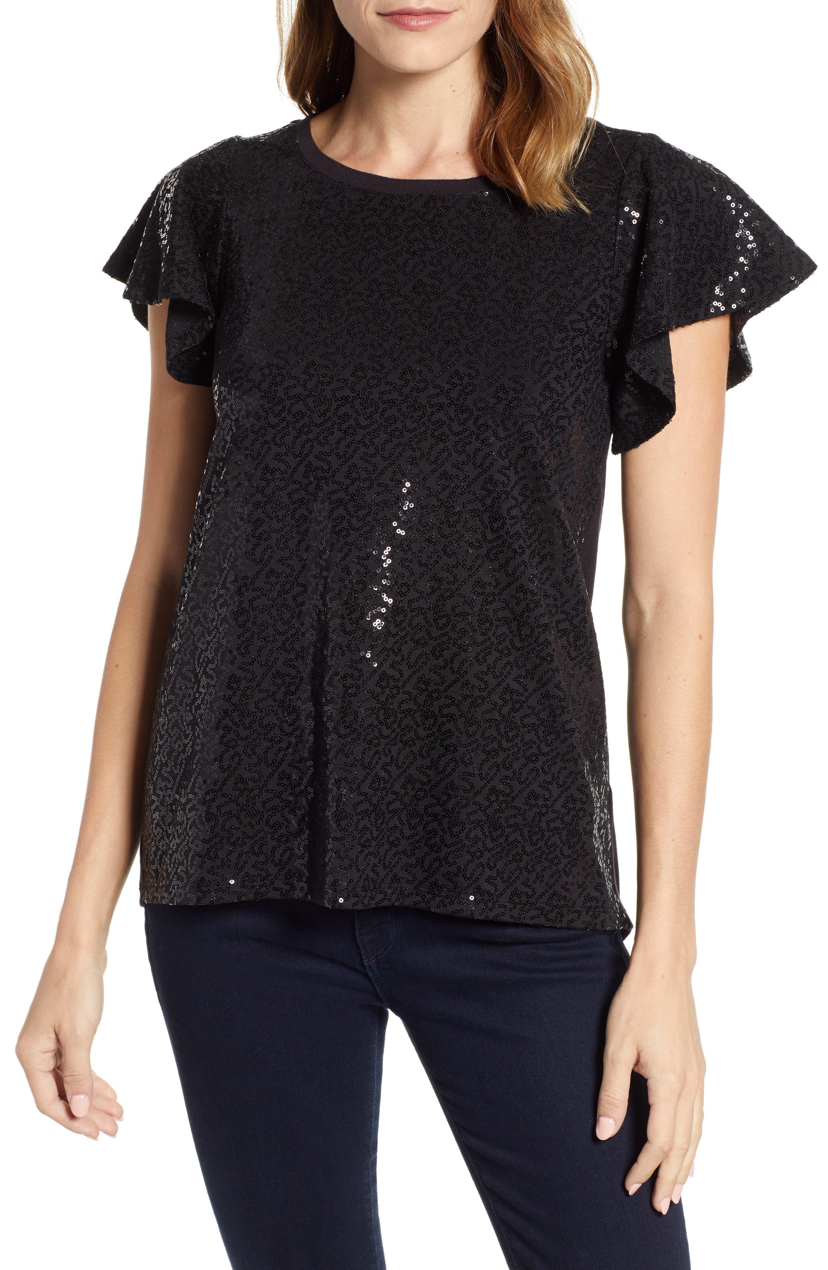 x Glam Squad Sequin Flutter Sleeve Top,                         Main,                         color, BLACK