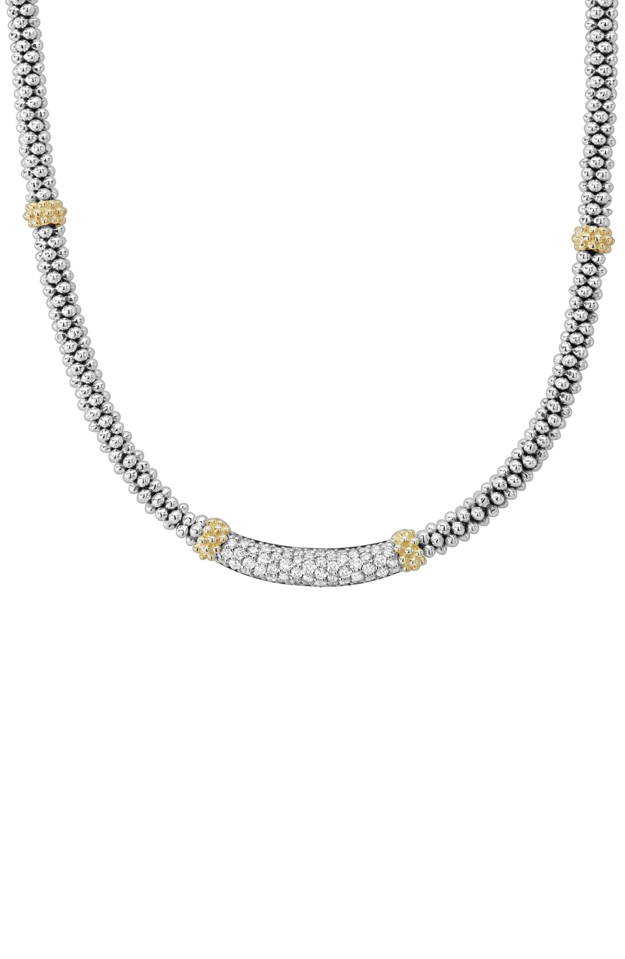 Lux Diamond Rope Necklace,                         Main,                         color, SILVER/ DIAMOND