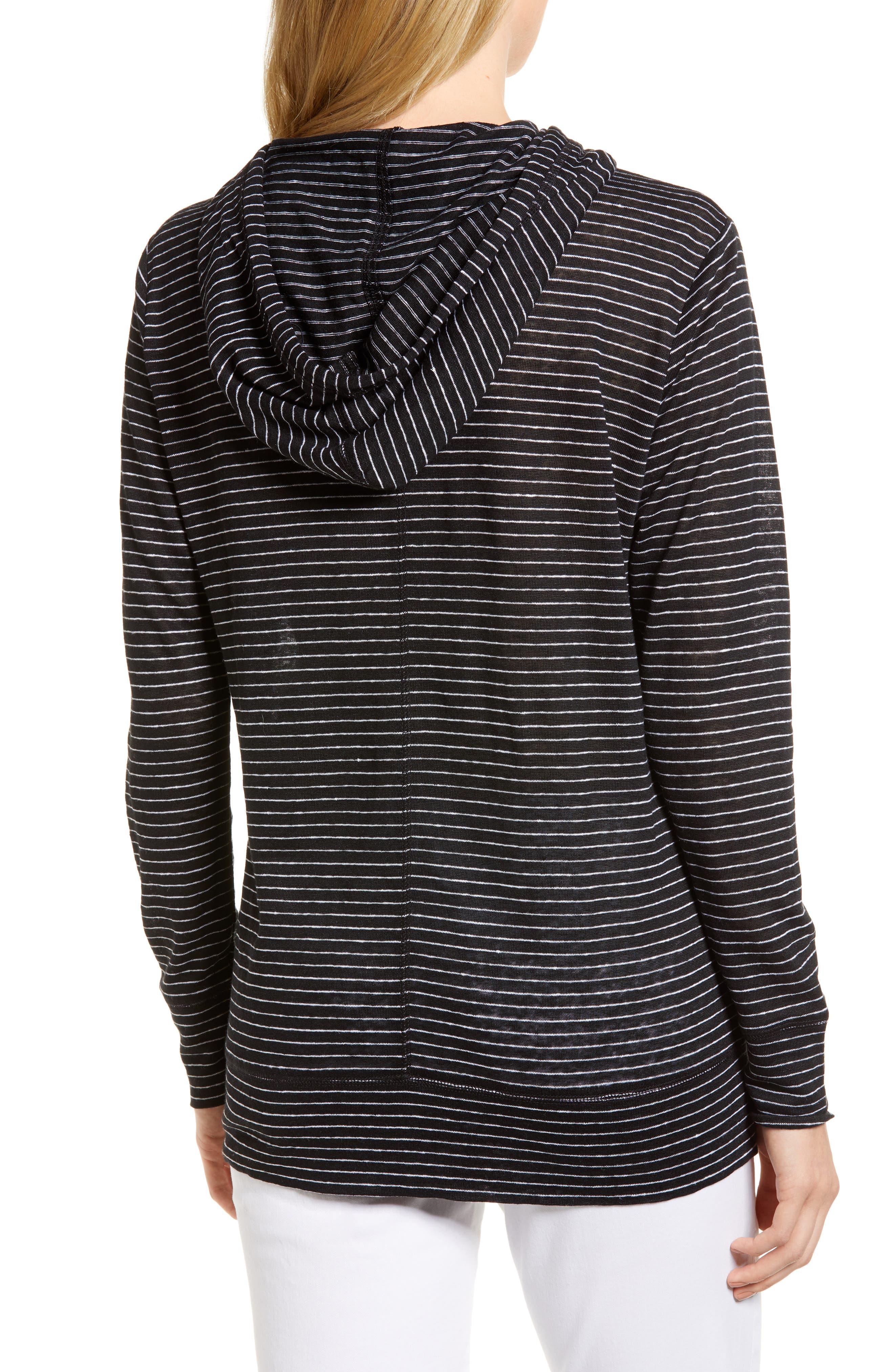 Knit Linen Hoodie,                             Alternate thumbnail 2, color,                             BLACK- IVORY SKINNY STRIPE