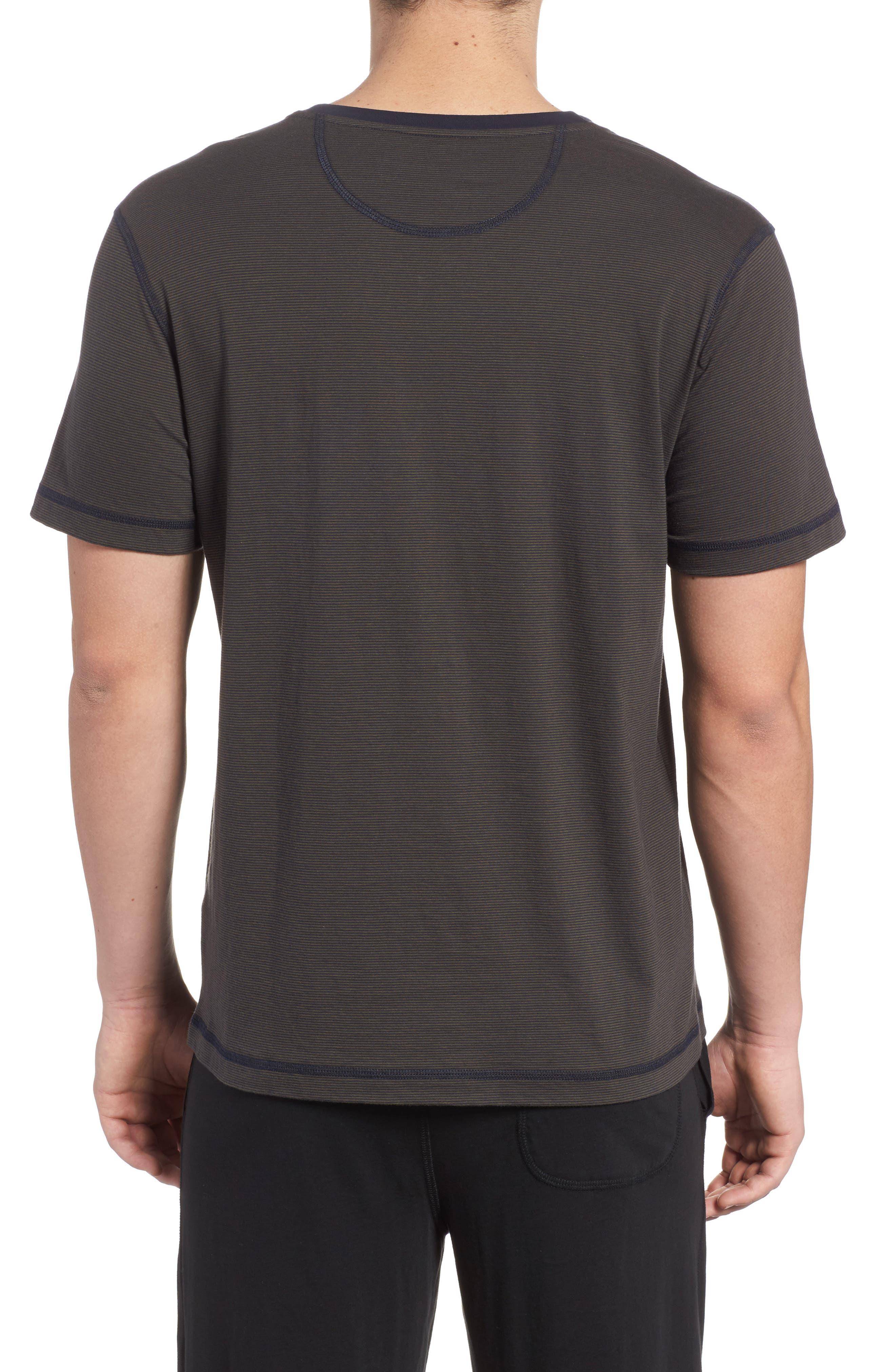 Peruvian Pima Cotton T-Shirt,                             Alternate thumbnail 2, color,                             ARMY/ MIDNIGHT STRIPE