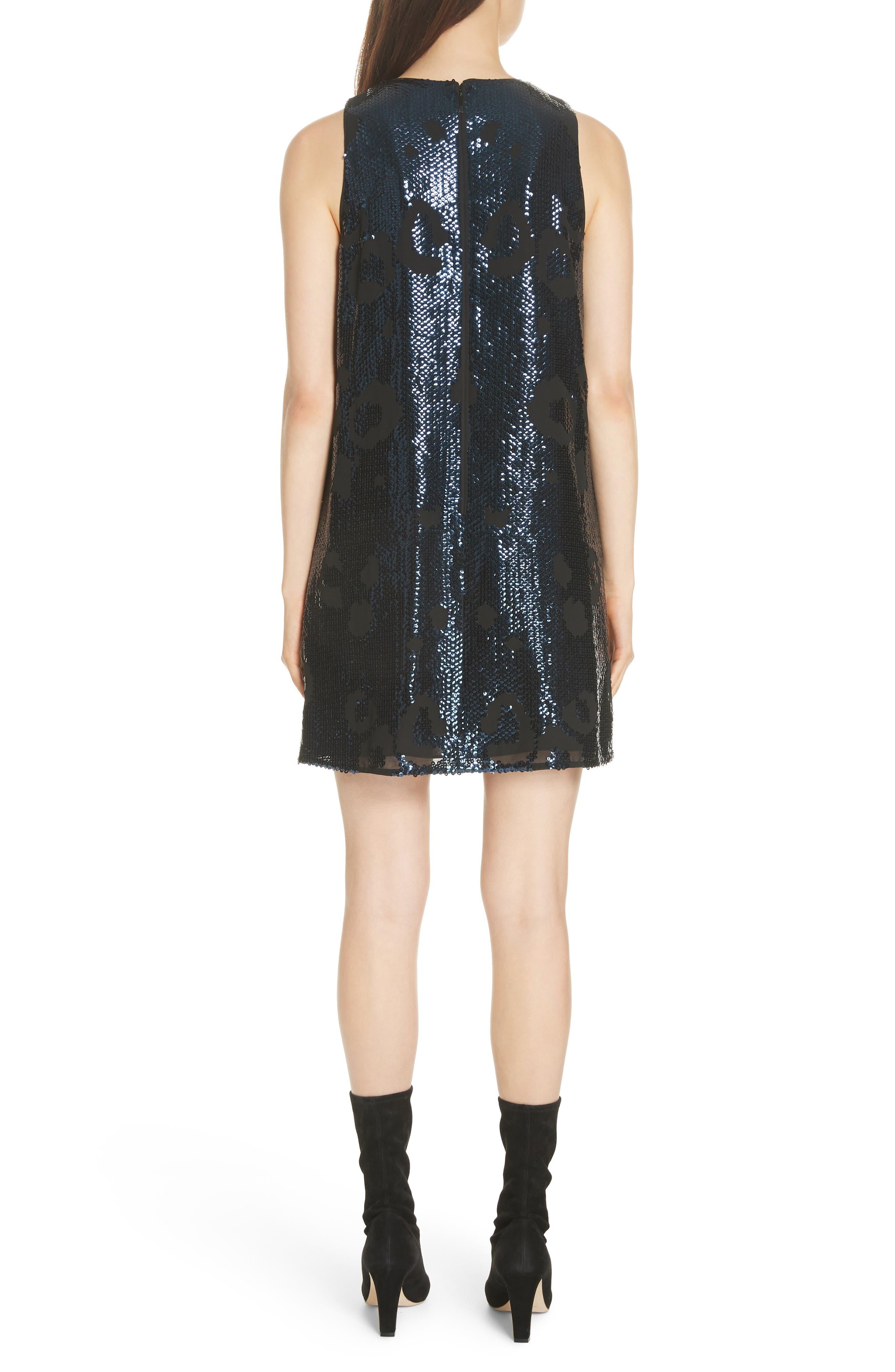 leopard sequin shift dress,                             Alternate thumbnail 2, color,                             LIGHT ADRIATIC BLUE