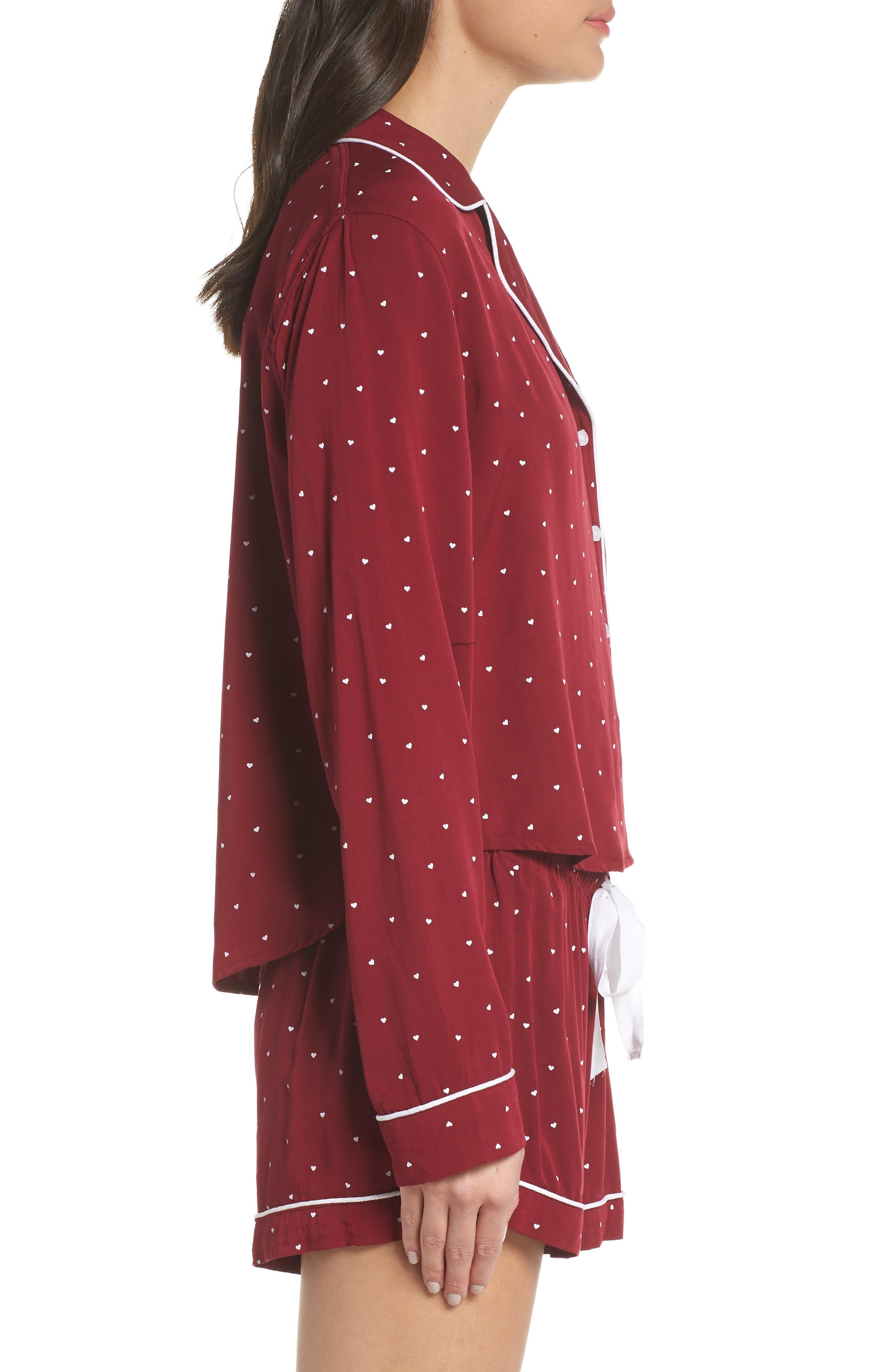 Short Pajamas,                             Alternate thumbnail 3, color,                             WHITE RED MINI HEARTS