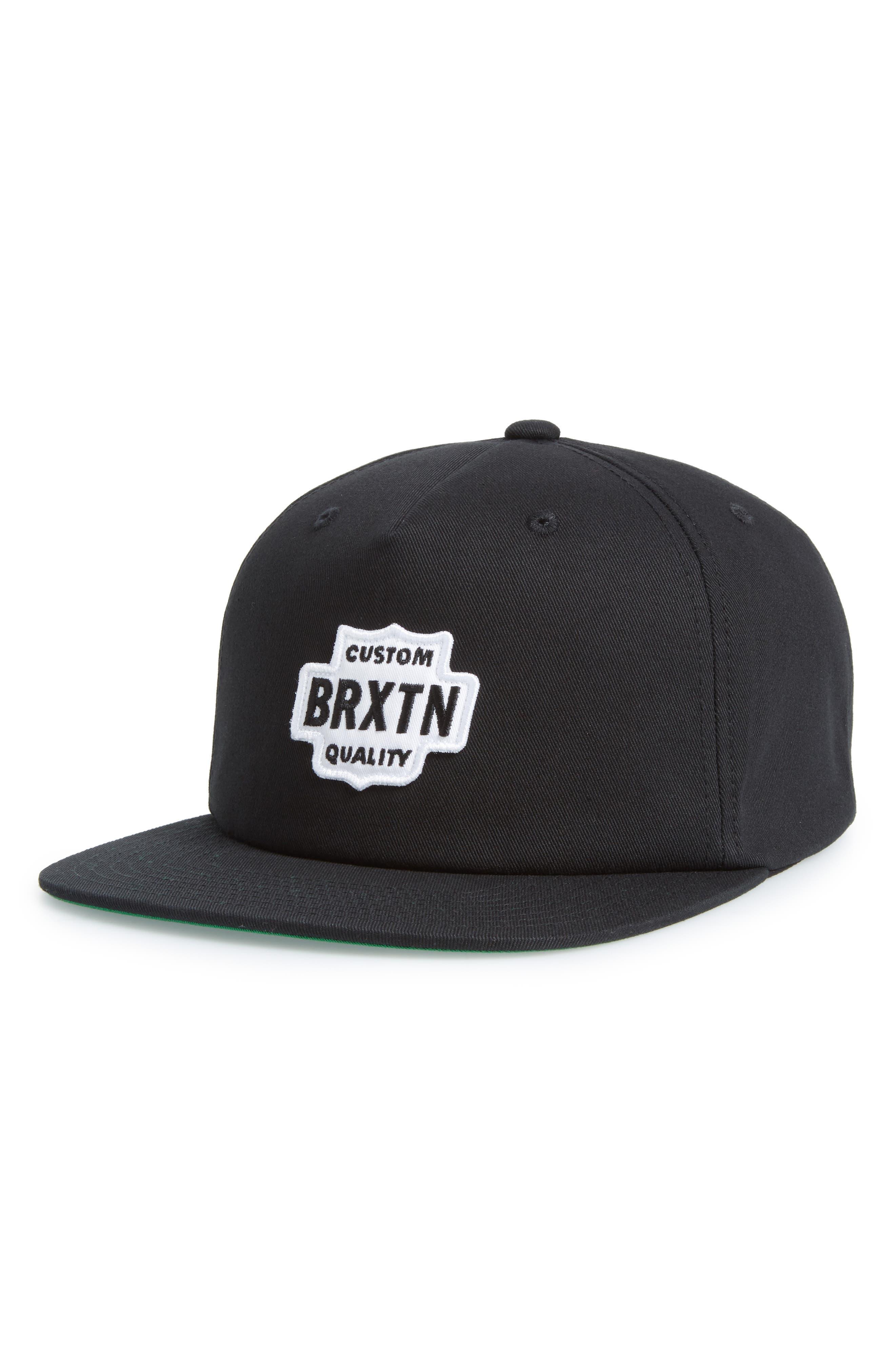 Garth Flat Brimmed Cap,                         Main,                         color, BLACK/ WHITE