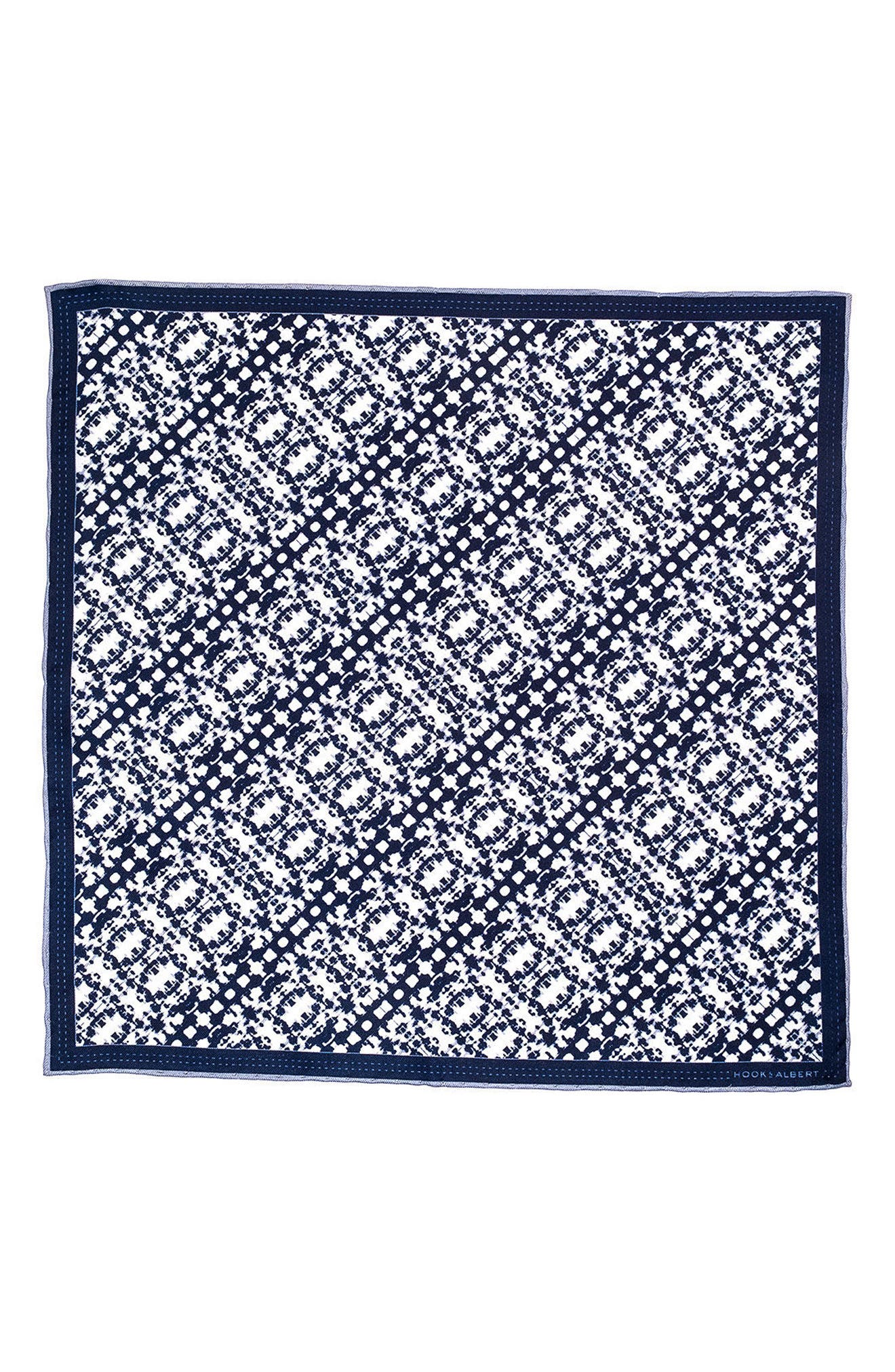Batik Patterned Silk Pocket Square,                             Alternate thumbnail 7, color,