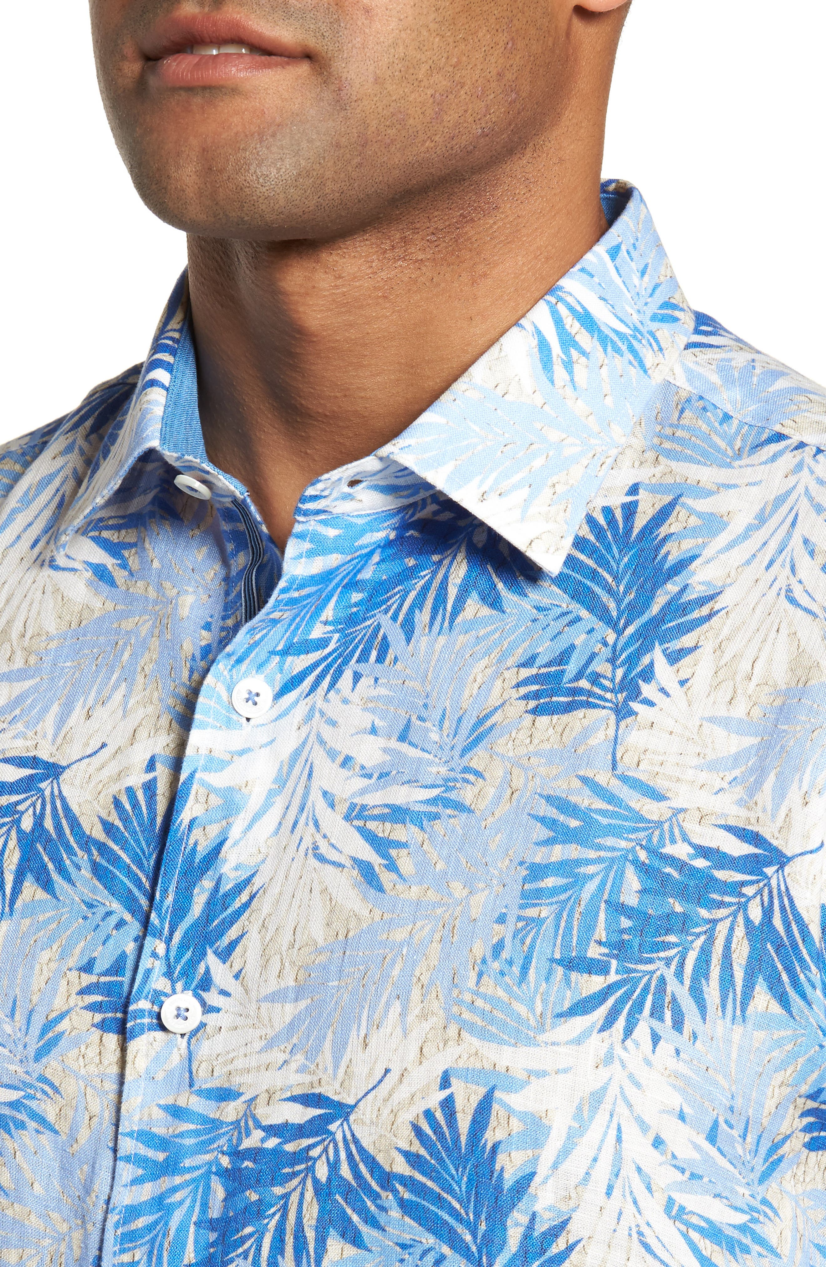 Shaped Fit Print Sport Shirt,                             Alternate thumbnail 4, color,