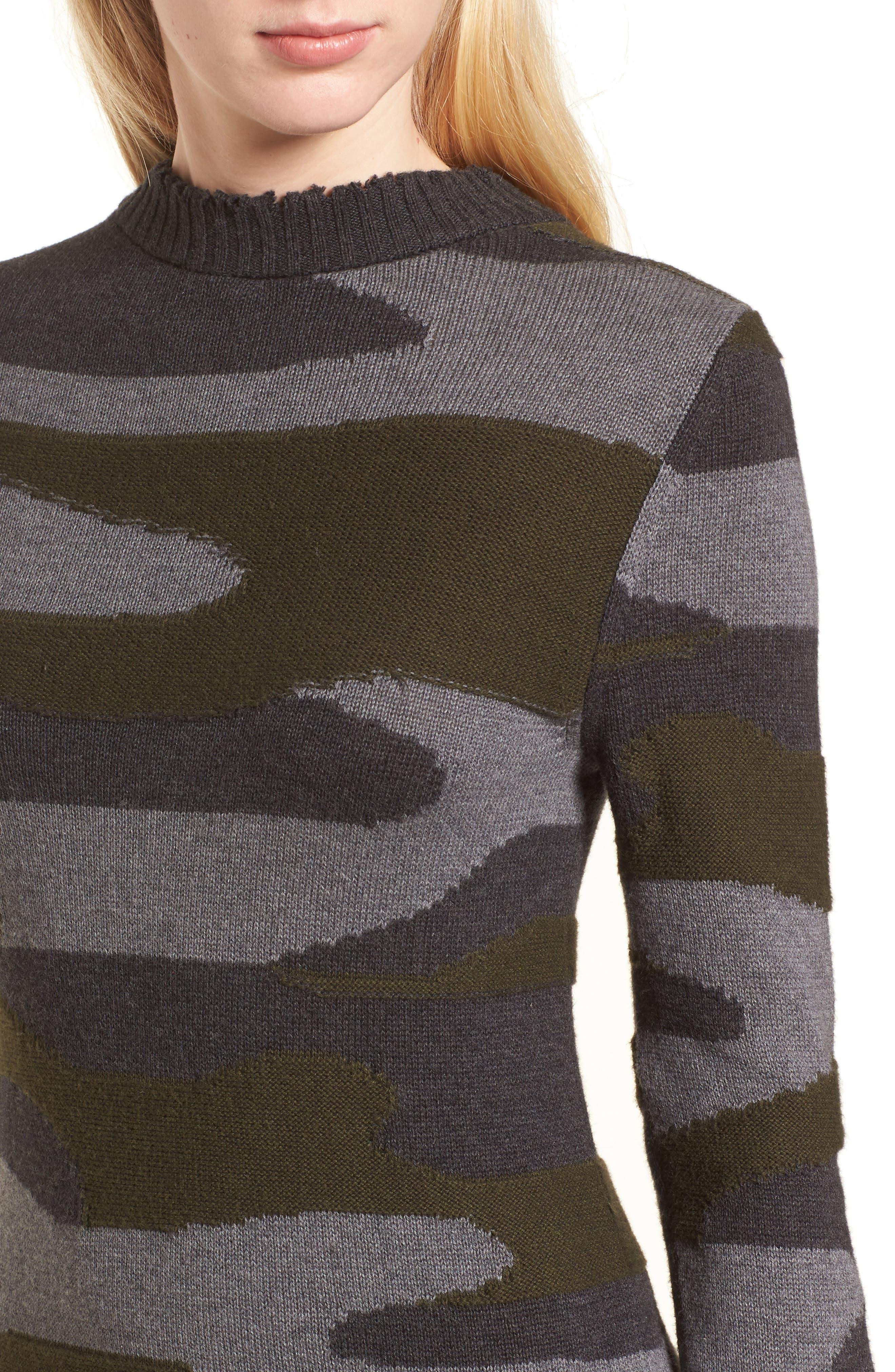 Camo Sweater Dress,                             Alternate thumbnail 4, color,                             313