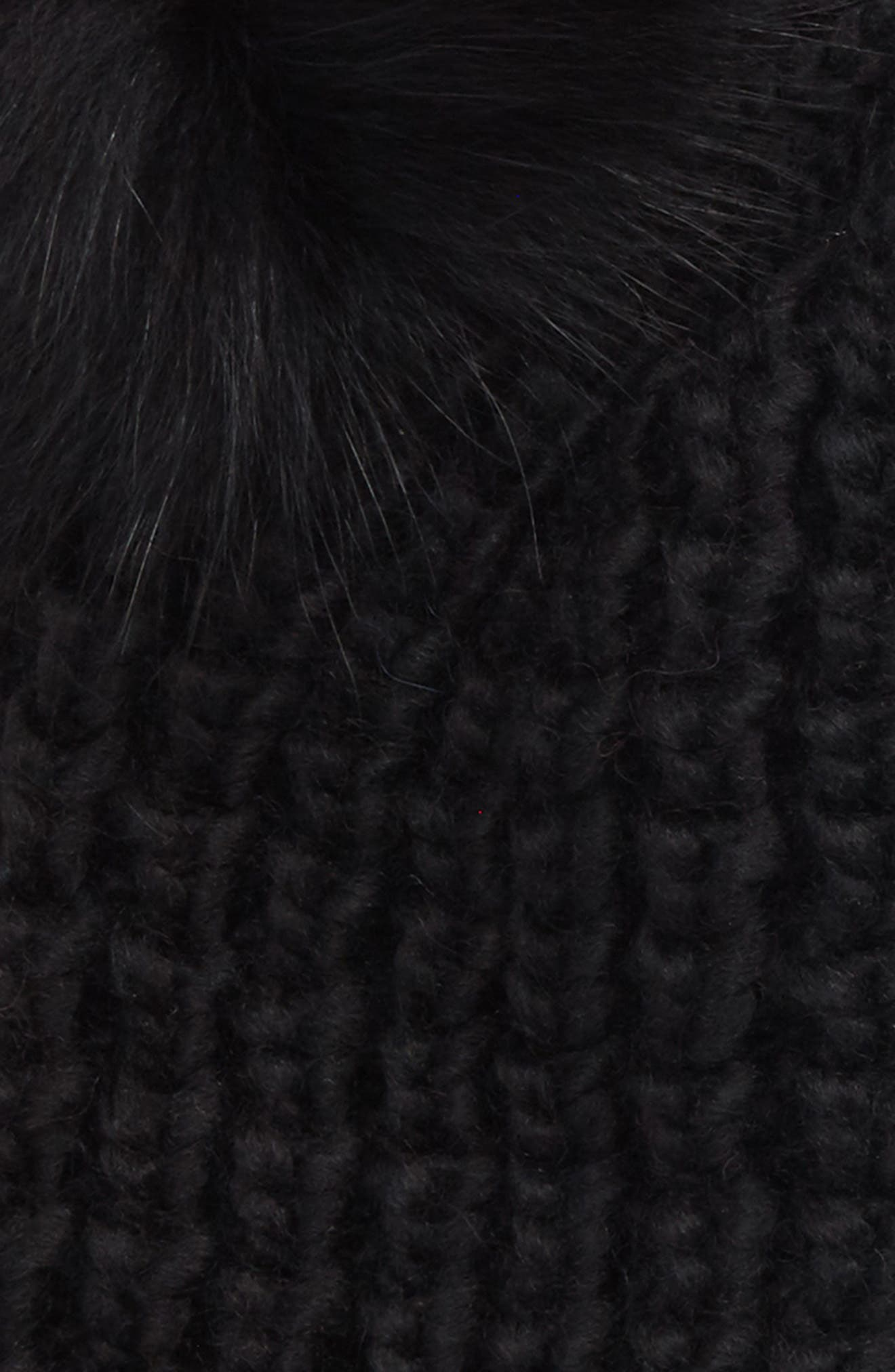 Genuine Fox Fur Pompoms Hat,                             Alternate thumbnail 2, color,                             001