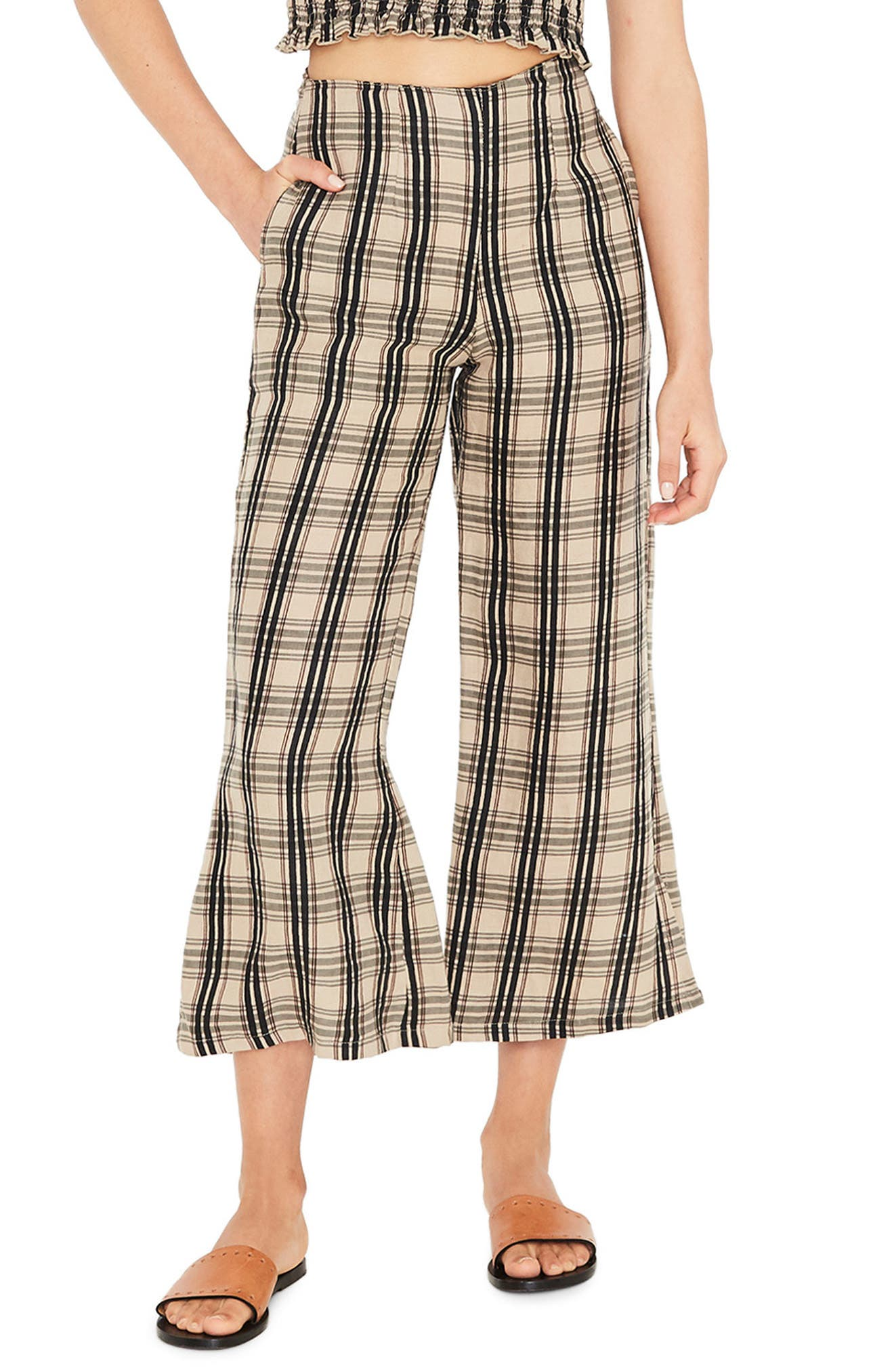 Faithfull The Brand Carmen Plaid Crop Flare Pants, Black