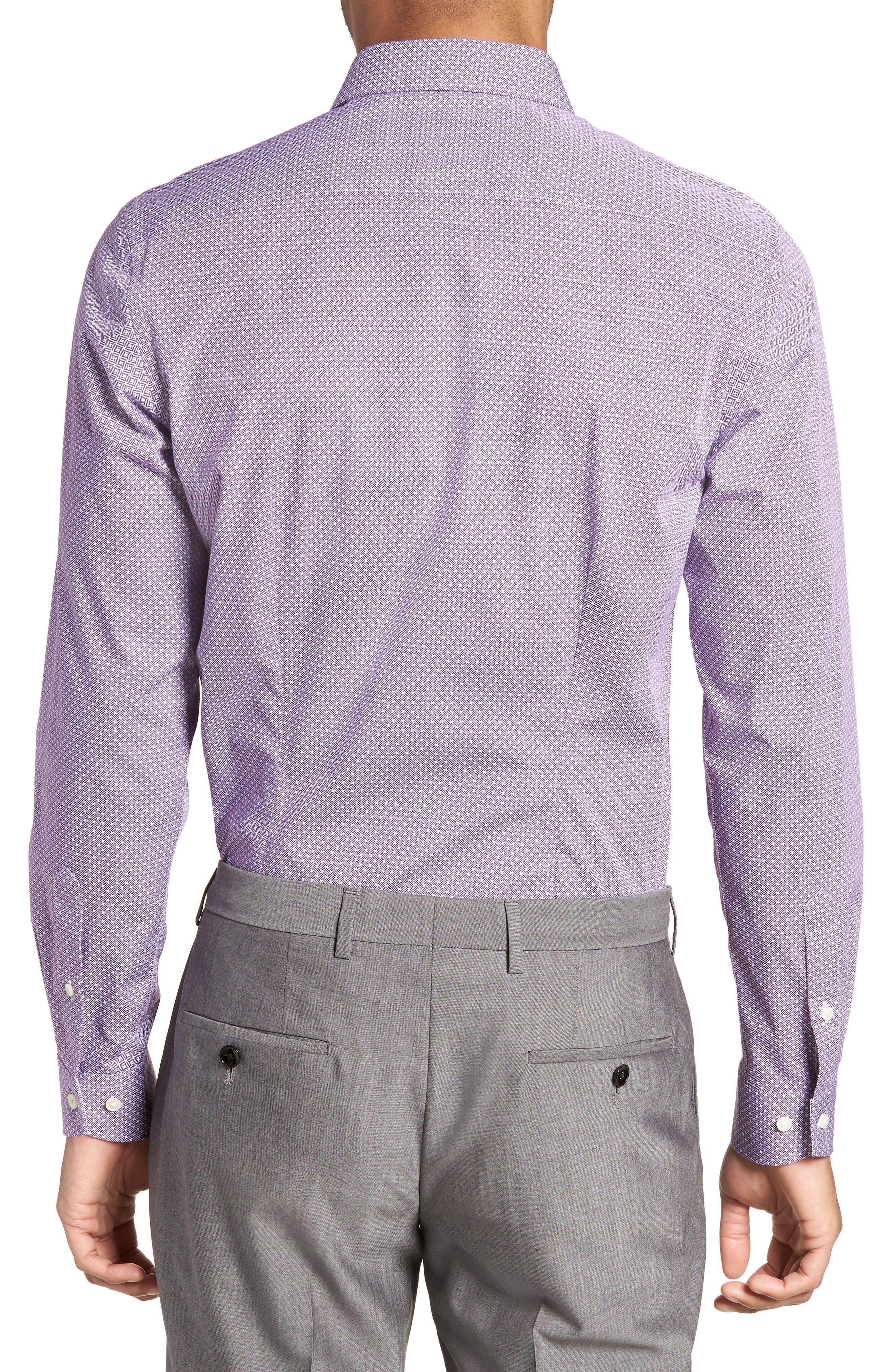Rugber Slim Fit Print Dress Shirt,                             Alternate thumbnail 3, color,                             PURPLE
