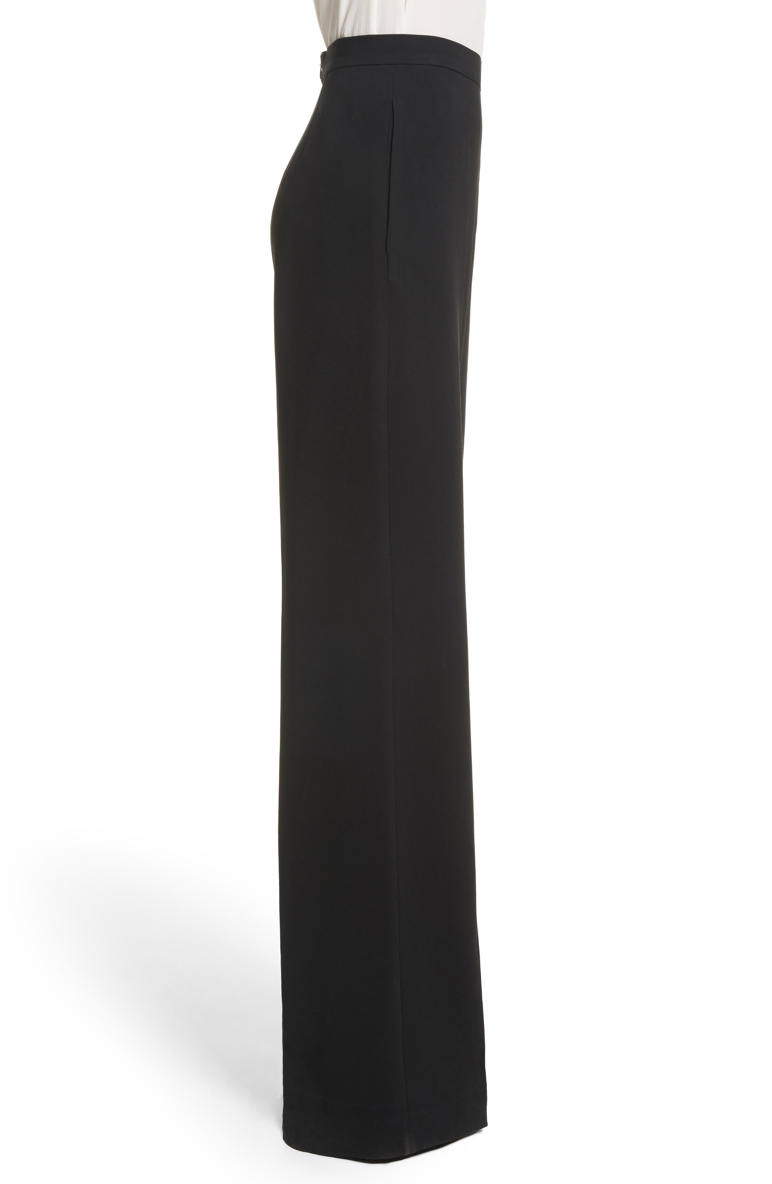 Wide Leg Crepe Pants,                             Alternate thumbnail 3, color,                             001