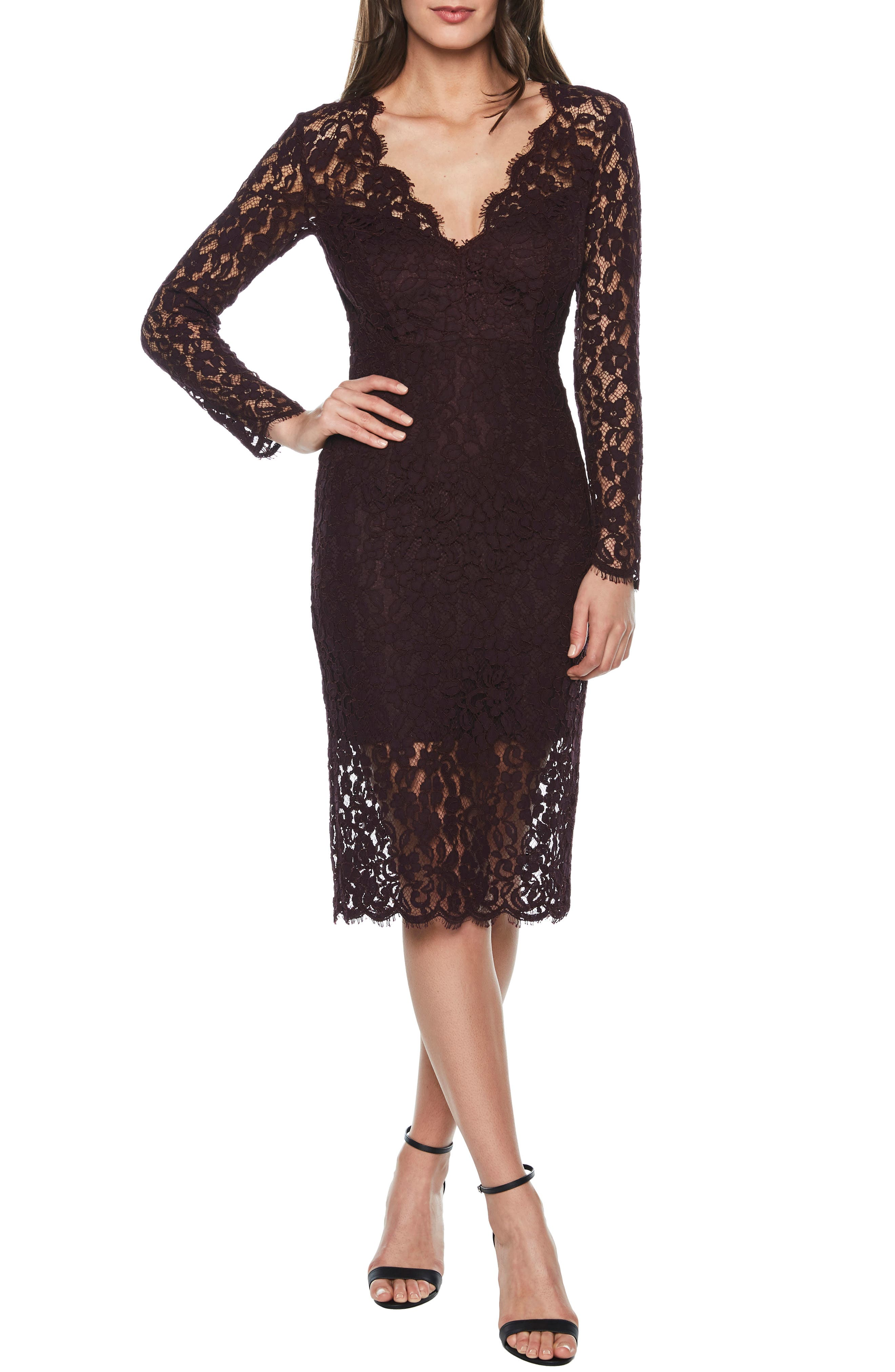 BARDOT Midnights Lace Dress, Main, color, BLACK