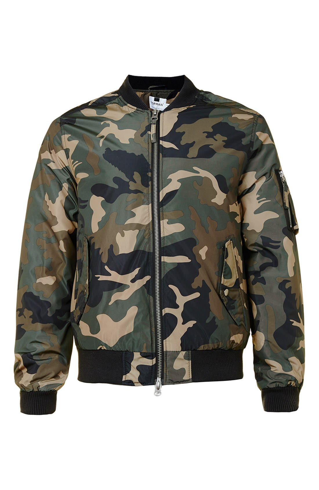 Camo Print MA-1 Bomber Jacket,                             Alternate thumbnail 4, color,                             300