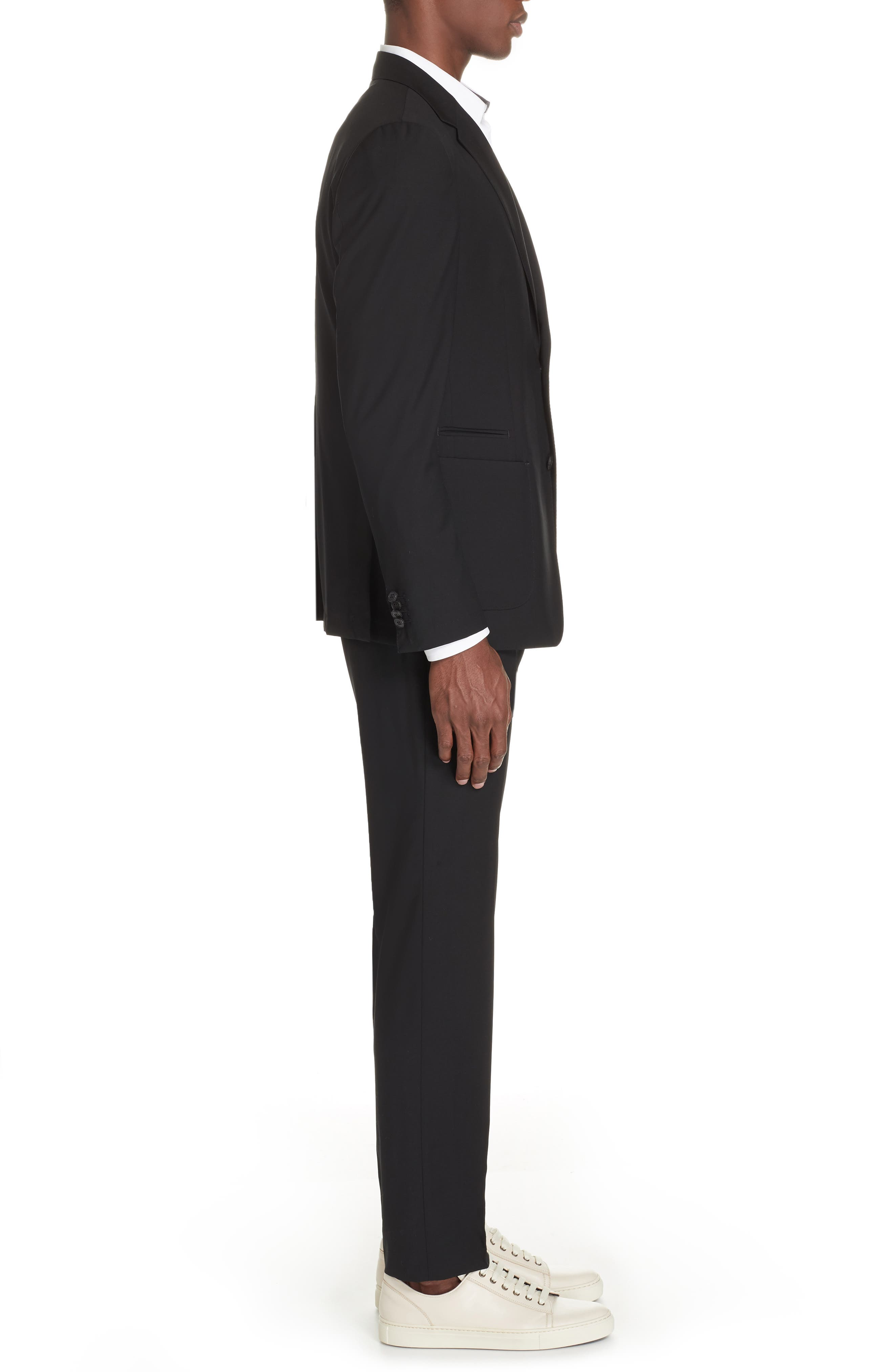 Wash and Go Trim Fit Solid Wool Suit,                             Alternate thumbnail 3, color,                             BLACK