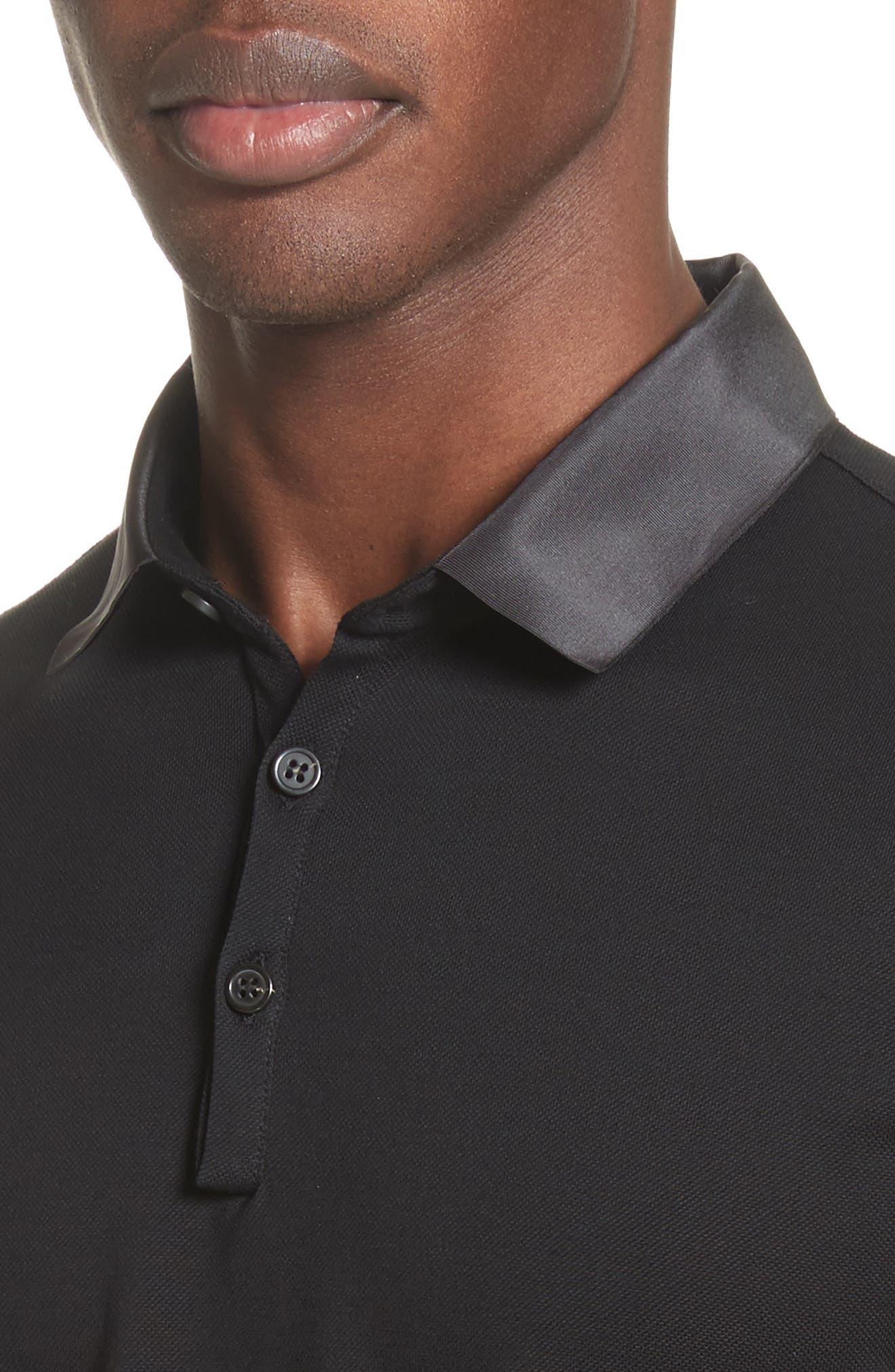 Grosgrain Collar Polo,                             Alternate thumbnail 4, color,                             BLACK