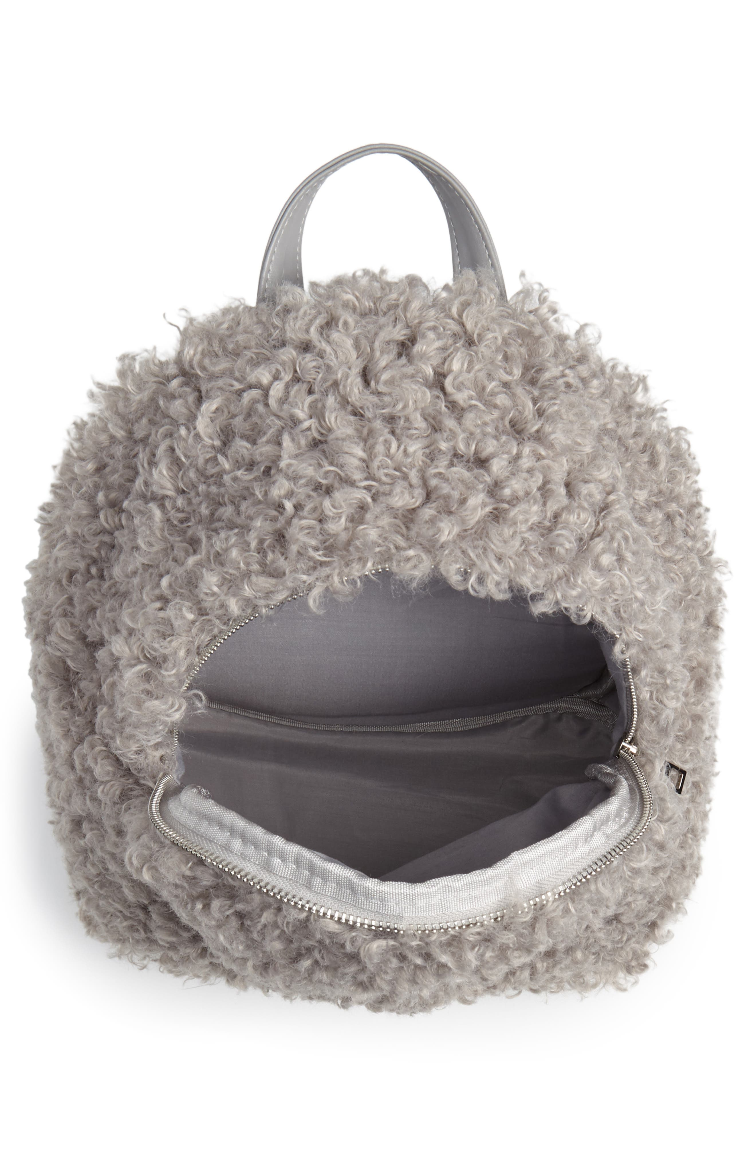 Curly Faux Shearling Backpack,                             Alternate thumbnail 4, color,                             020