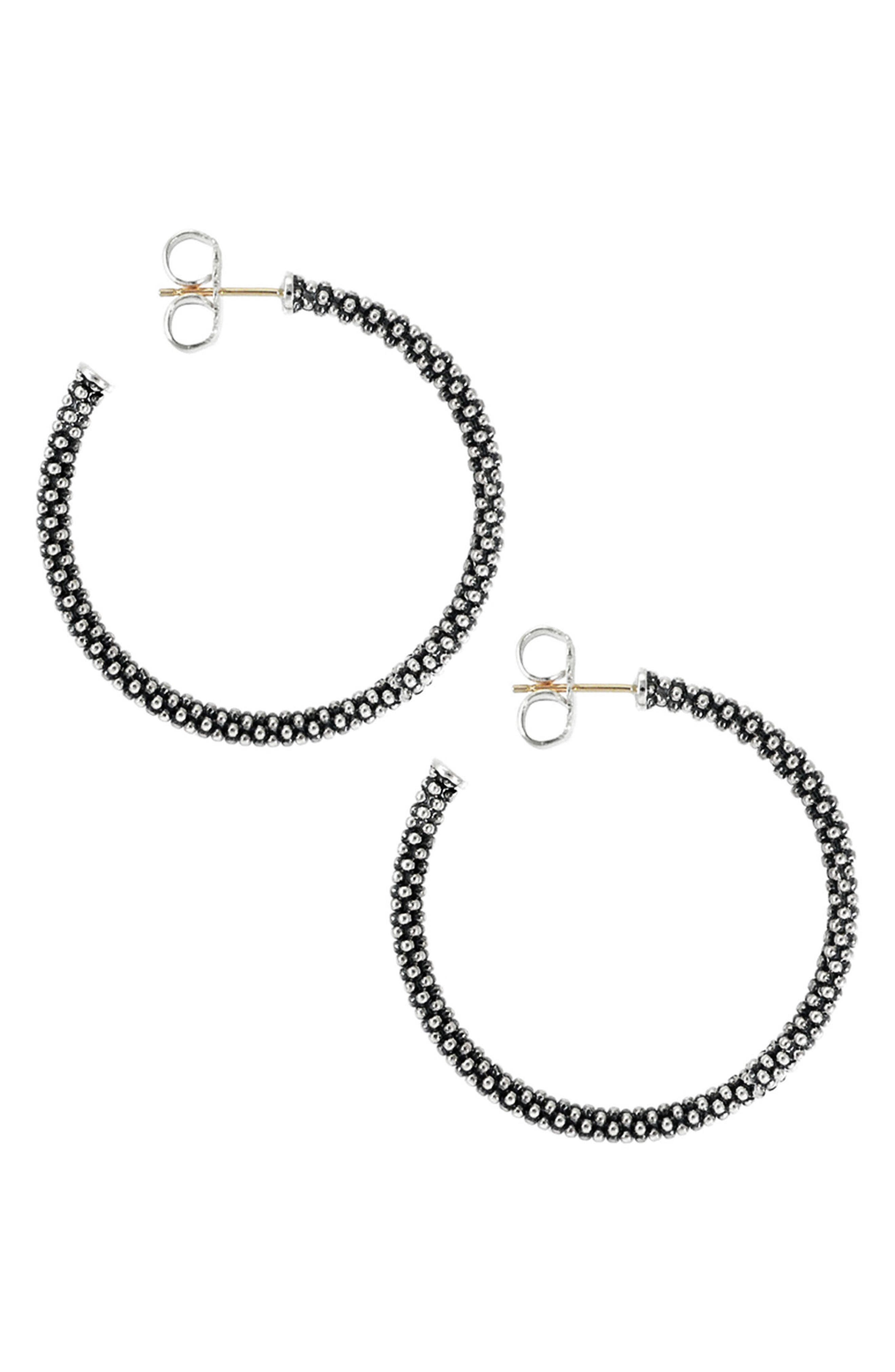 Medium Caviar Hoop Earrings,                             Alternate thumbnail 2, color,                             STERLING SILVER