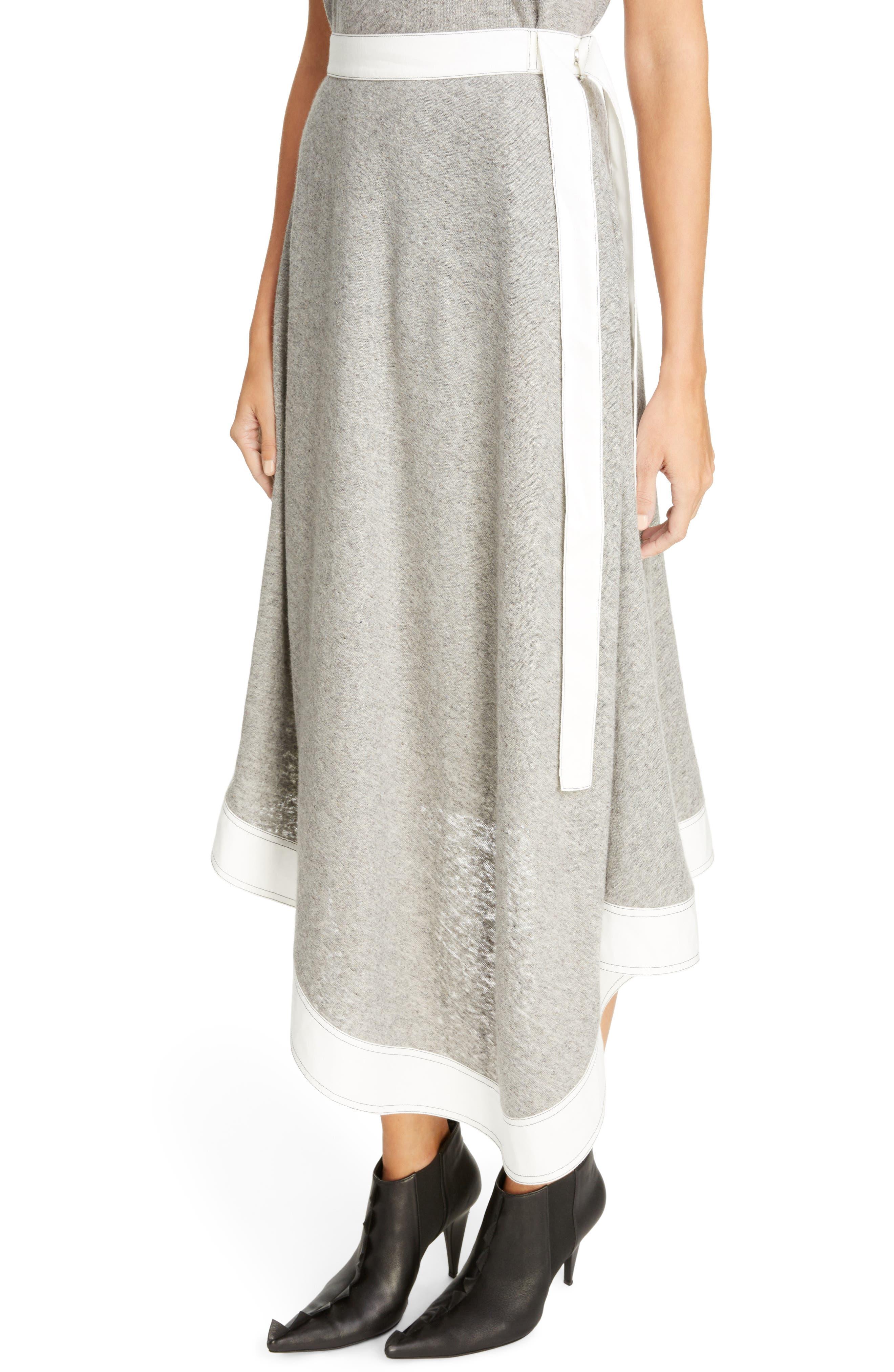 Asymmetrical Linen Blend Skirt,                             Alternate thumbnail 4, color,