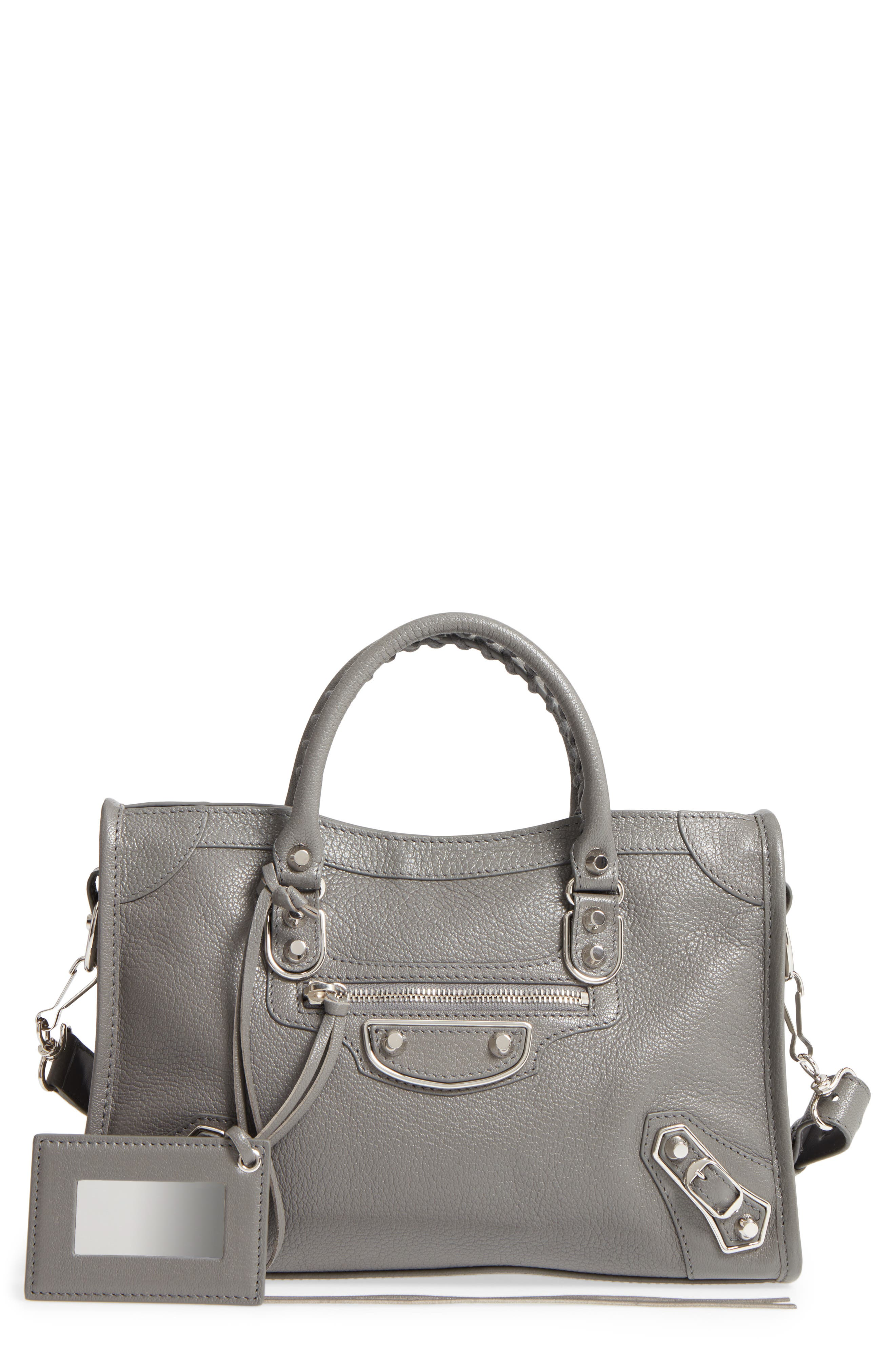 Small Classic Metallic Edge City Leather Tote,                             Main thumbnail 1, color,                             050