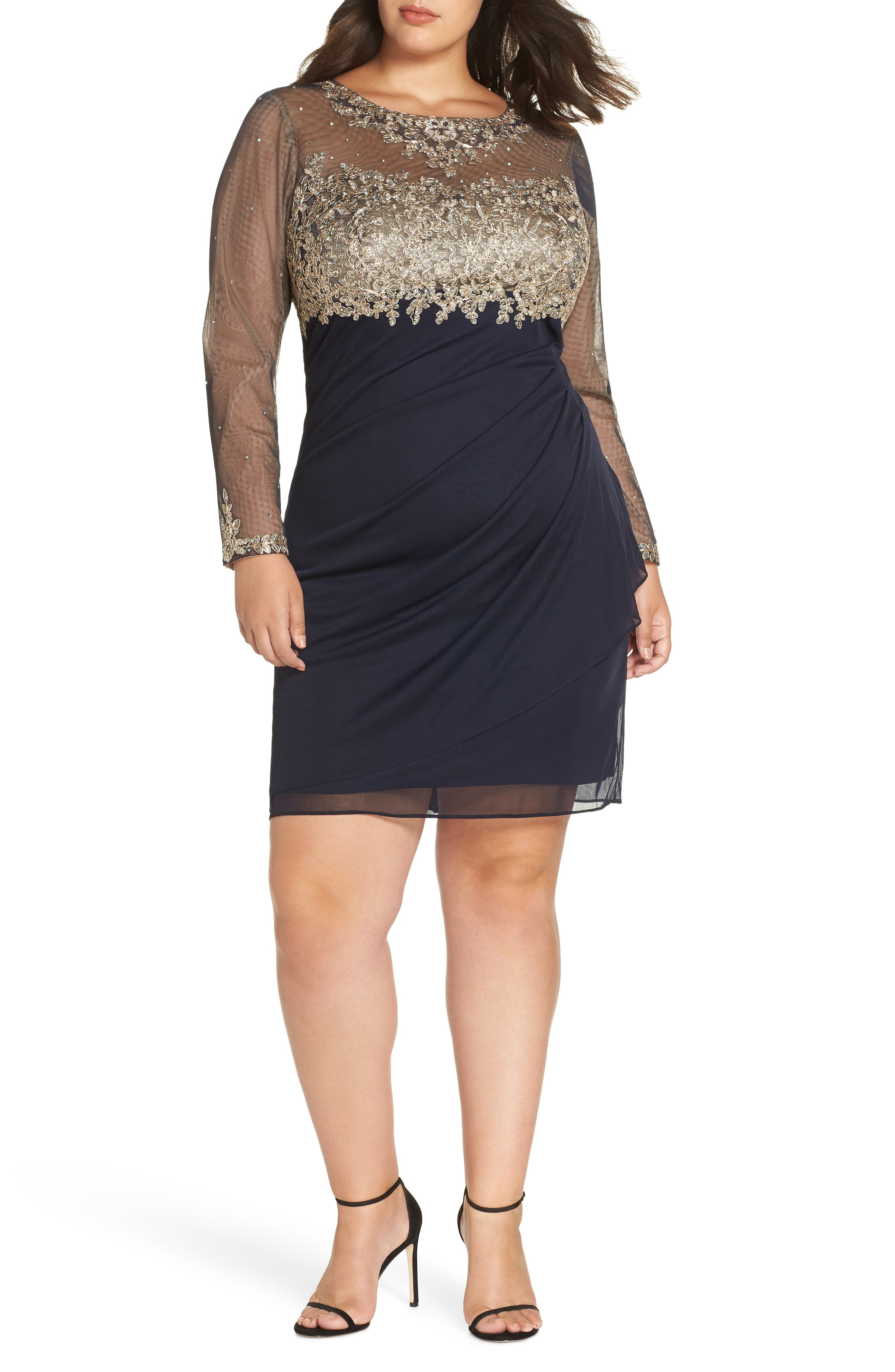 Embellished Mesh & Jersey Cocktail Dress,                             Main thumbnail 1, color,                             NAVY/ GOLD