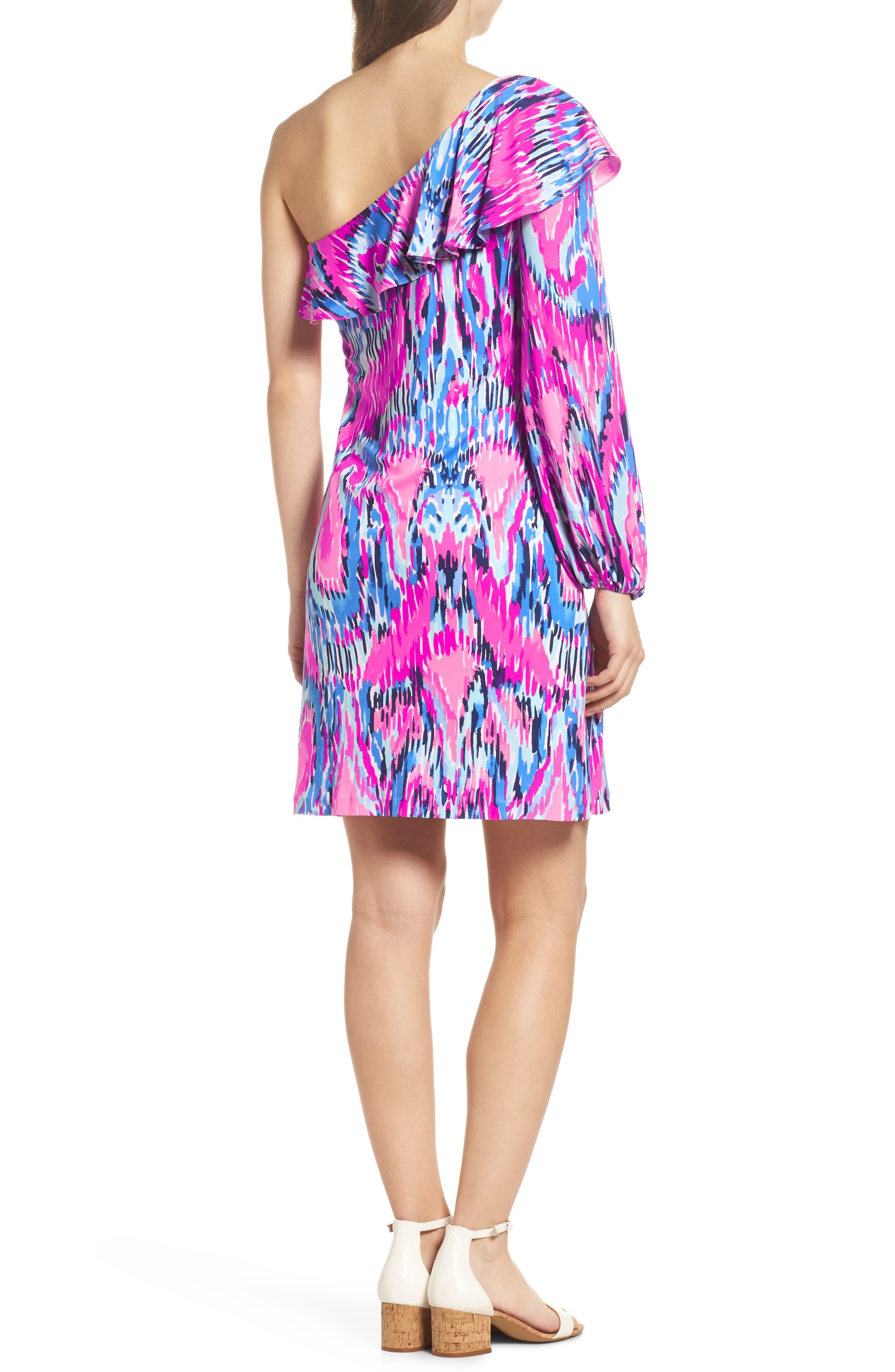 Amante One-Shoulder Silk Dress,                             Alternate thumbnail 2, color,                             650