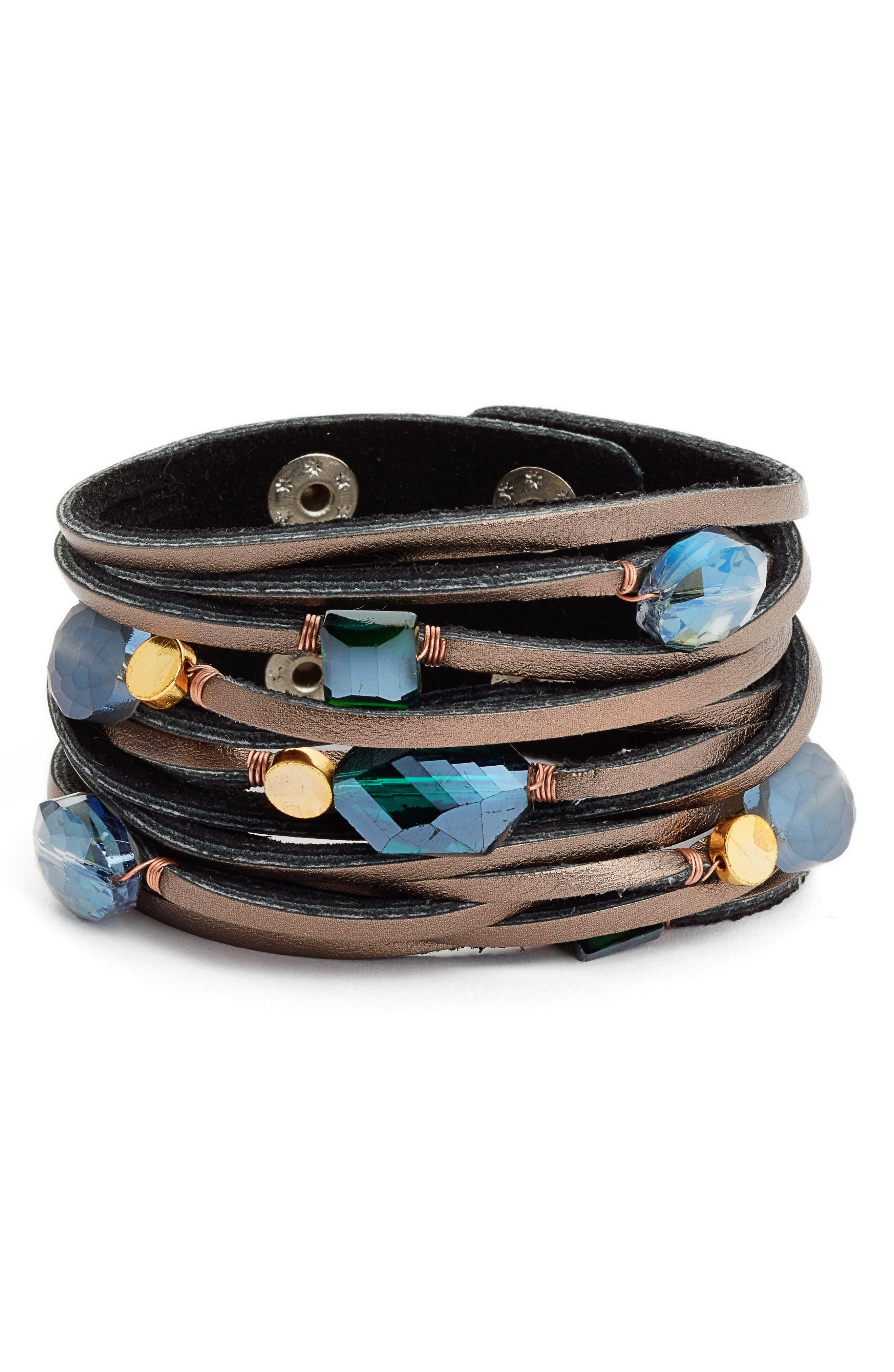 Shredded Leather & Crystal Bracelet,                             Main thumbnail 1, color,                             400