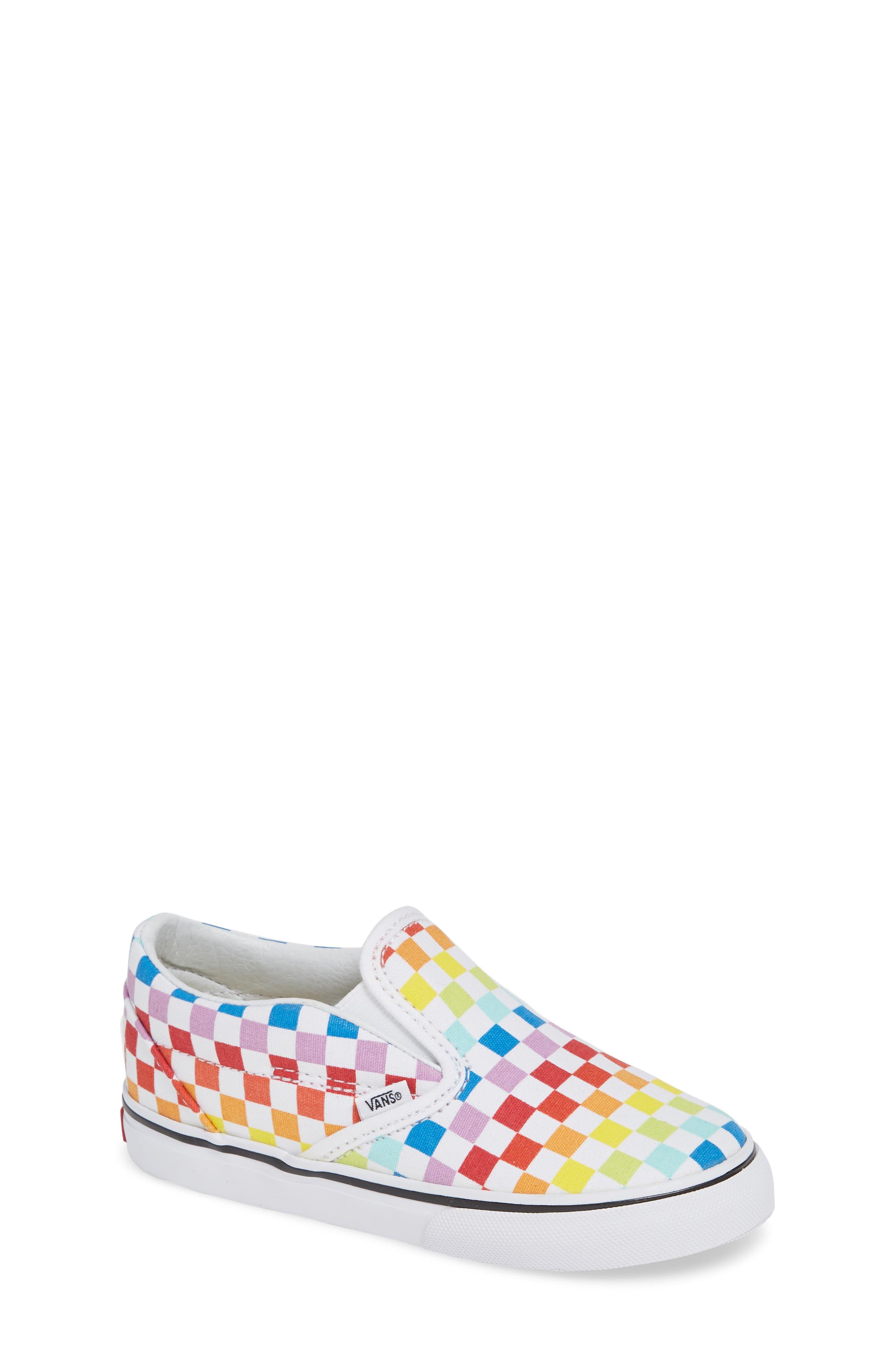 'Classic - Checker' Slip-On,                             Main thumbnail 1, color,                             RAINBOW/ WHITE