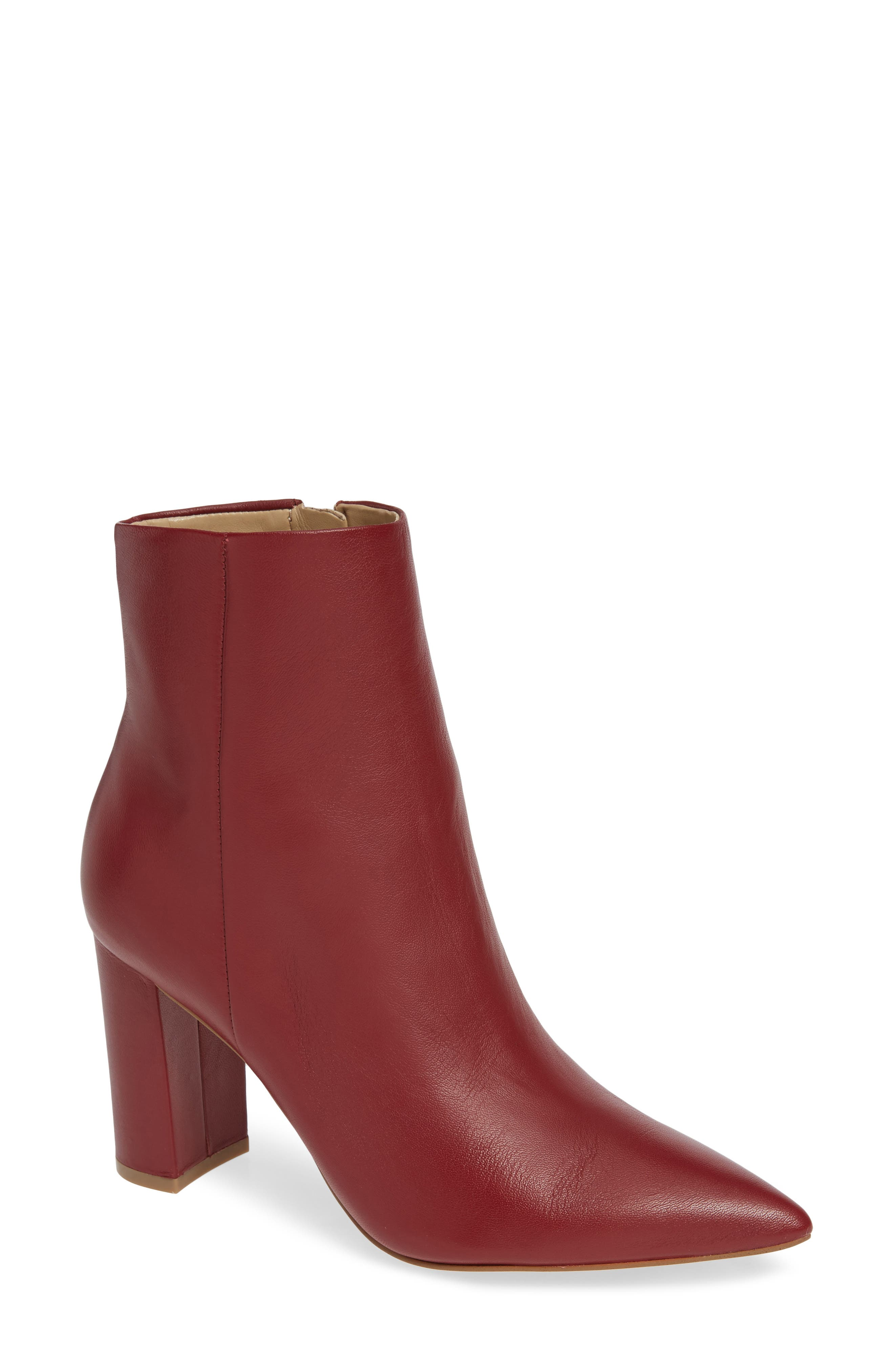 Ulani Pointy Toe Bootie,                             Main thumbnail 1, color,                             RED LEATHER