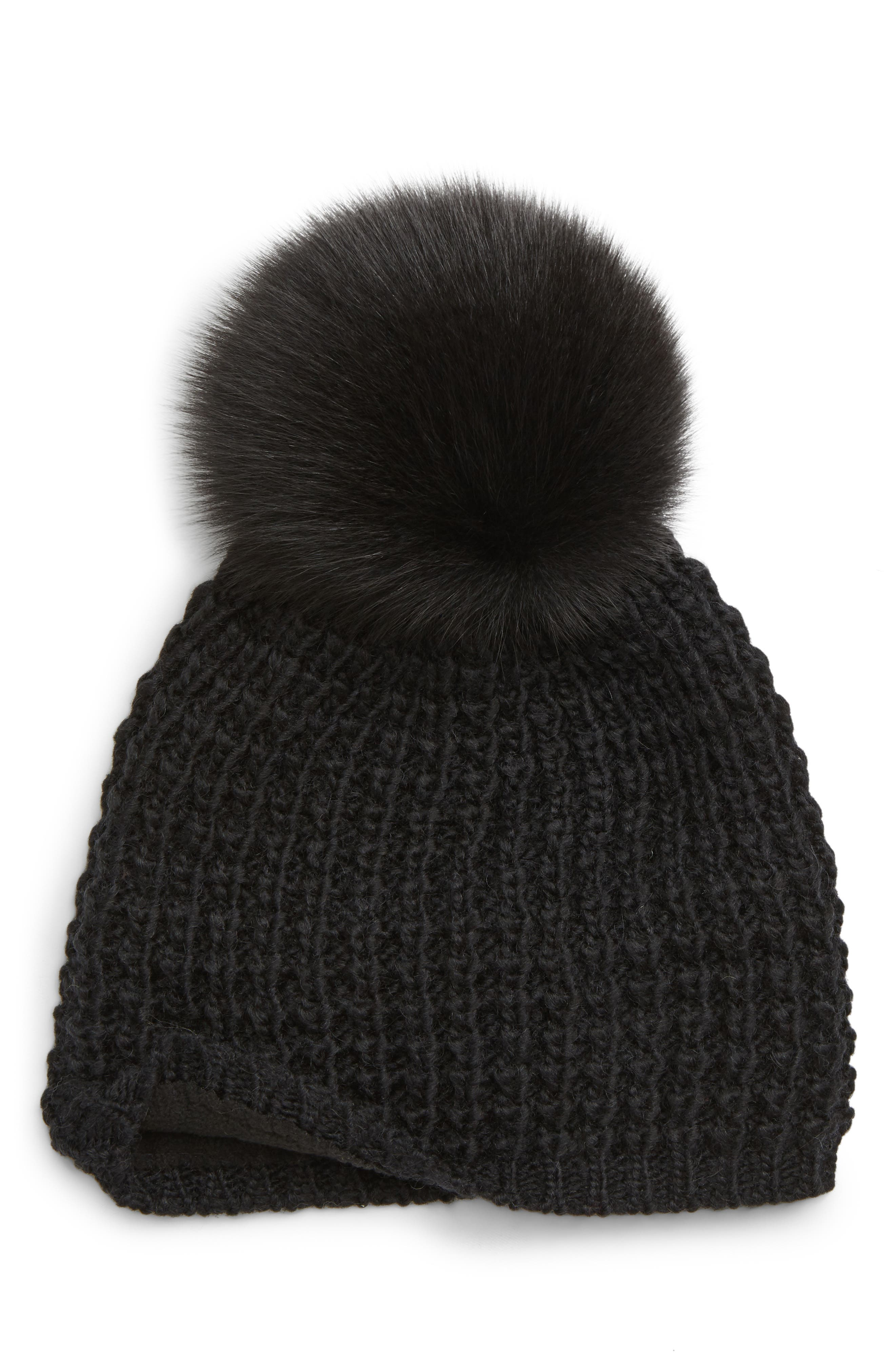 Genuine Fox Pompom Hat,                             Alternate thumbnail 2, color,                             BLACK