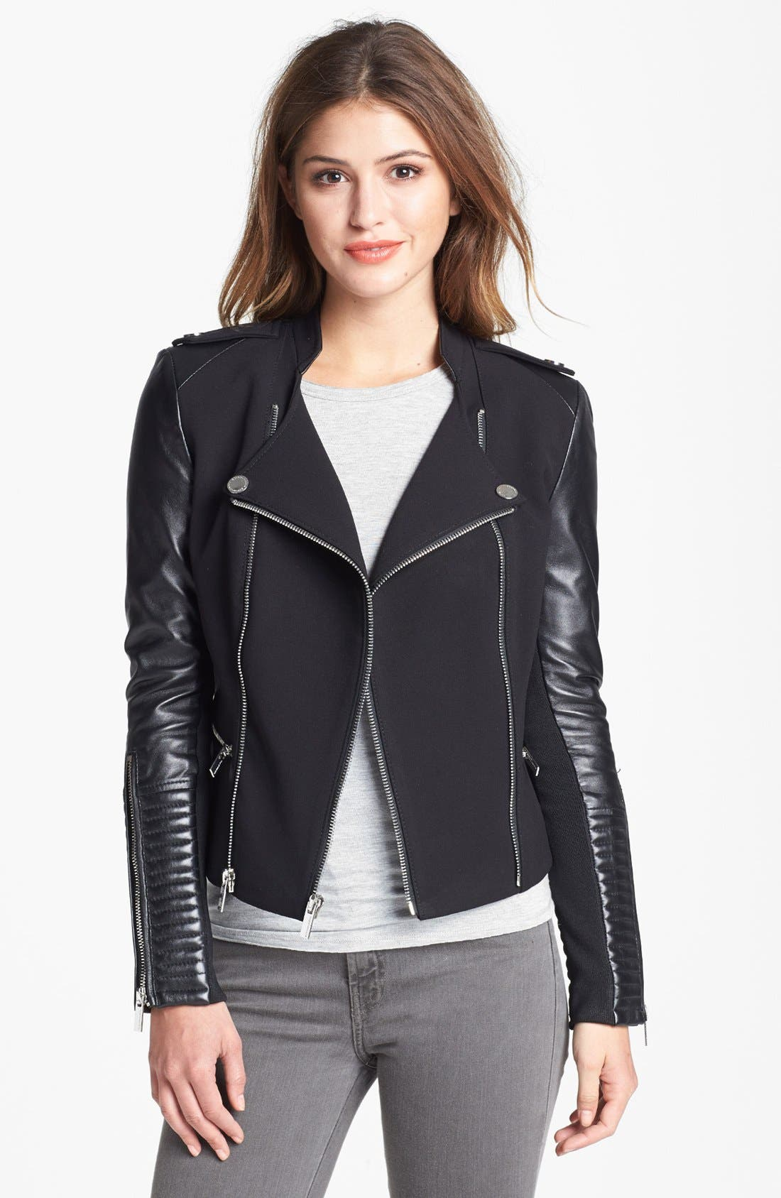 BCBGMAXAZRIA,                             Asymmetrical Ponte & Leather Moto Jacket,                             Main thumbnail 1, color,                             001