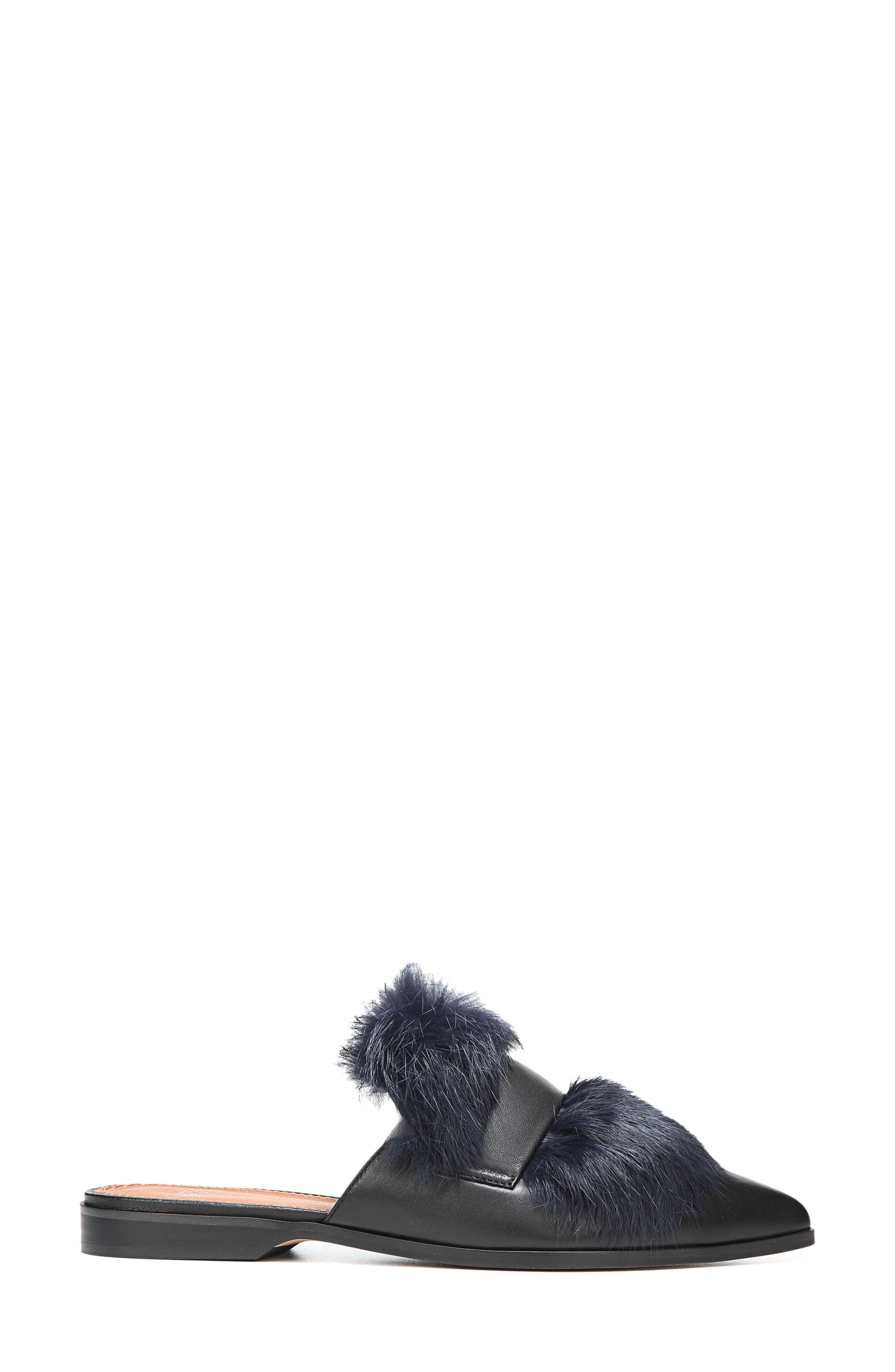 Palmer II Genuine Rabbit Fur Slide,                             Alternate thumbnail 3, color,                             001