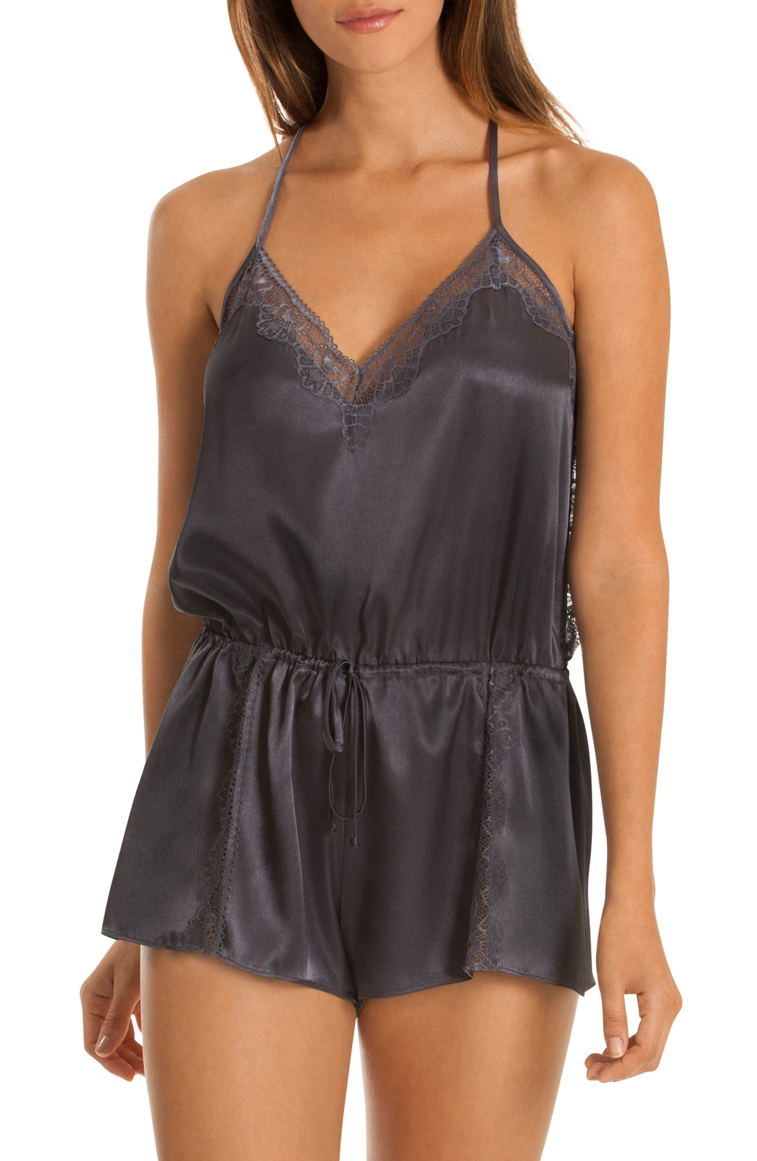 Lace Trim Romper in Charcoal
