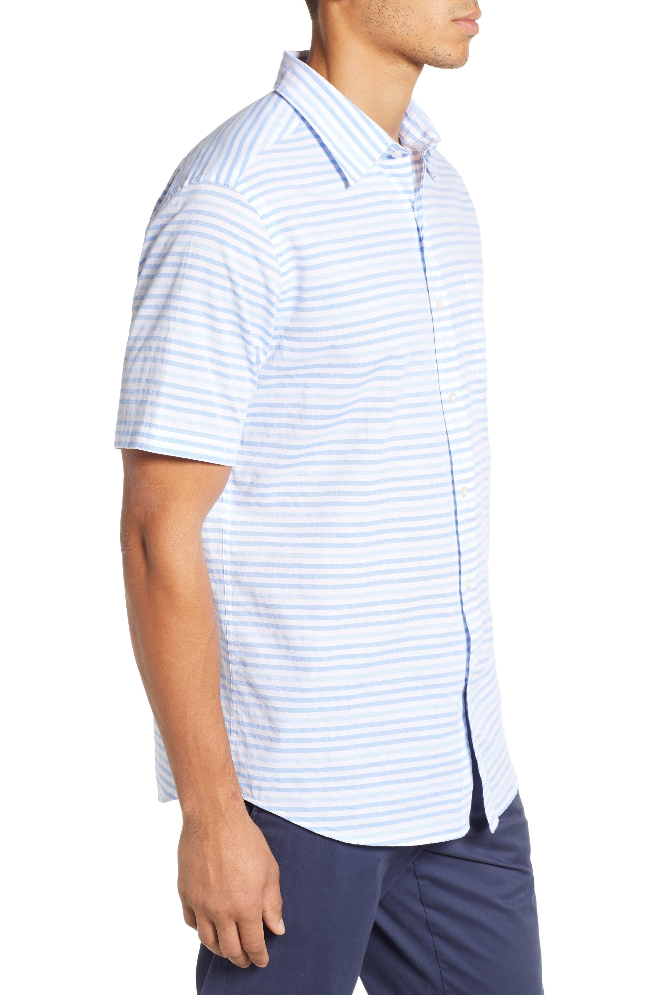 Ocean View Regular Fit Stripe Sport Shirt,                             Alternate thumbnail 4, color,                             MARINA