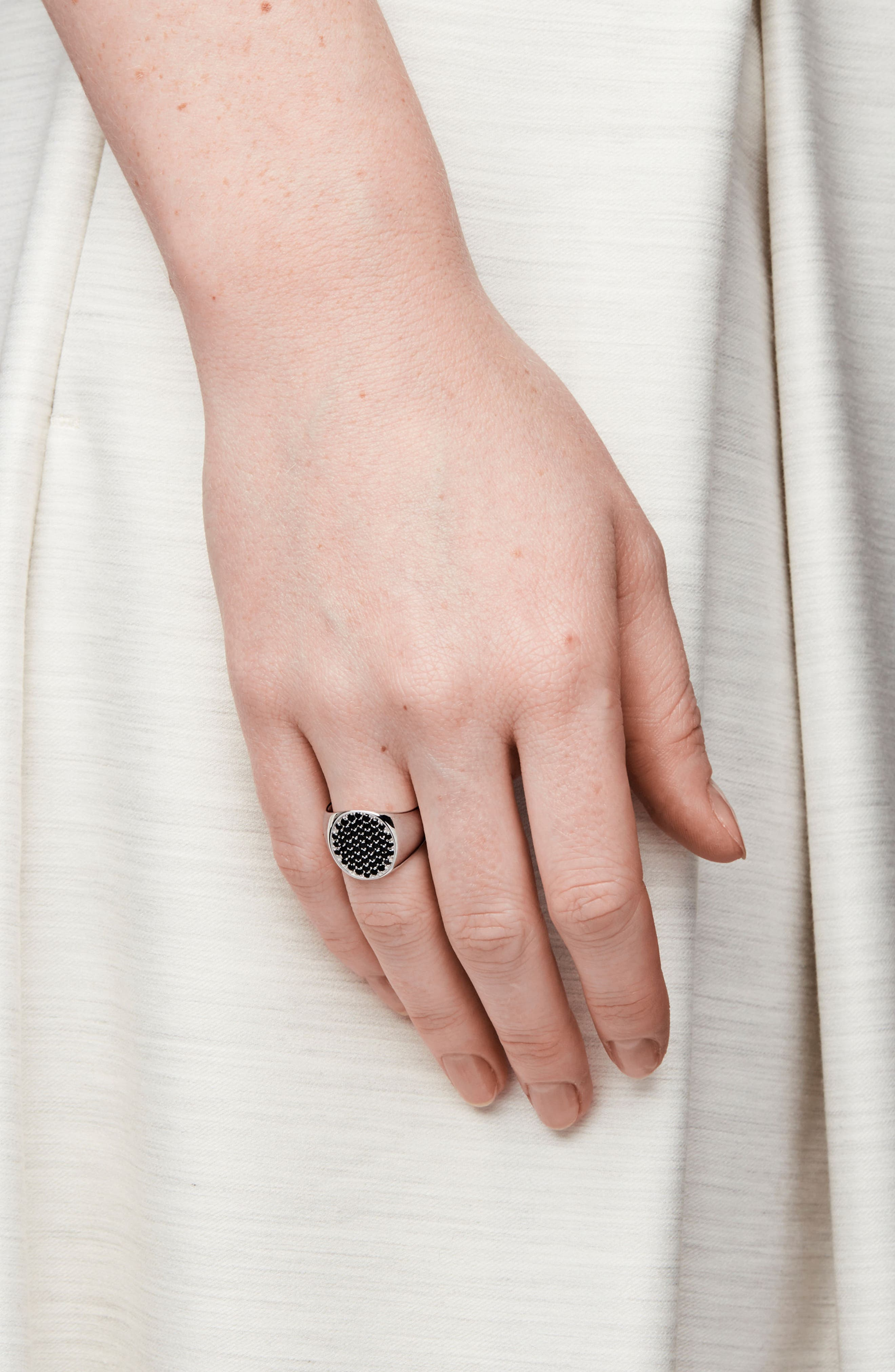 Black Spinel Oval Pinkie Ring,                             Alternate thumbnail 2, color,                             043