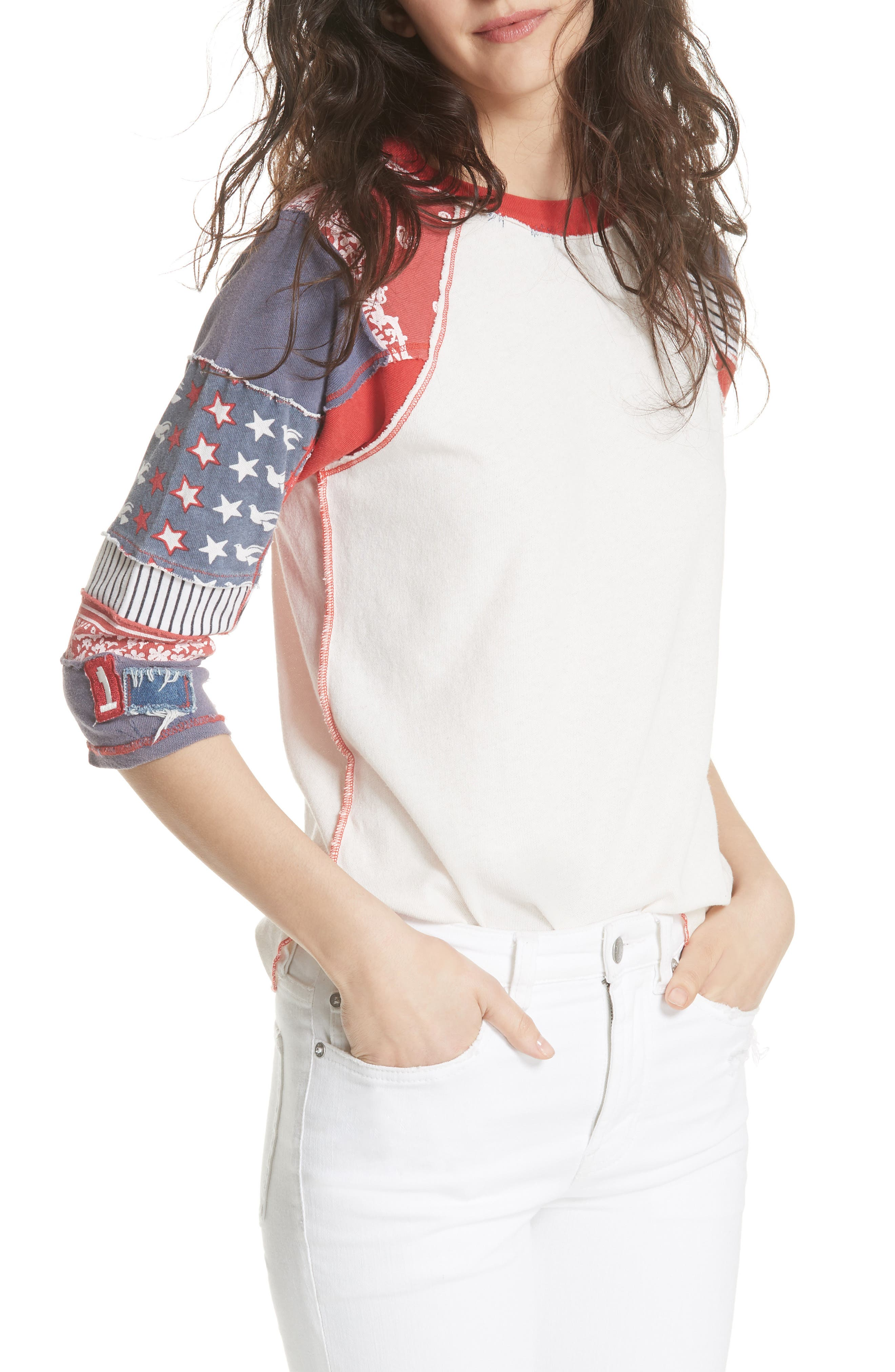 We the Free by Free People Bright Star Raglan Sleeve Tee,                         Main,                         color, 100