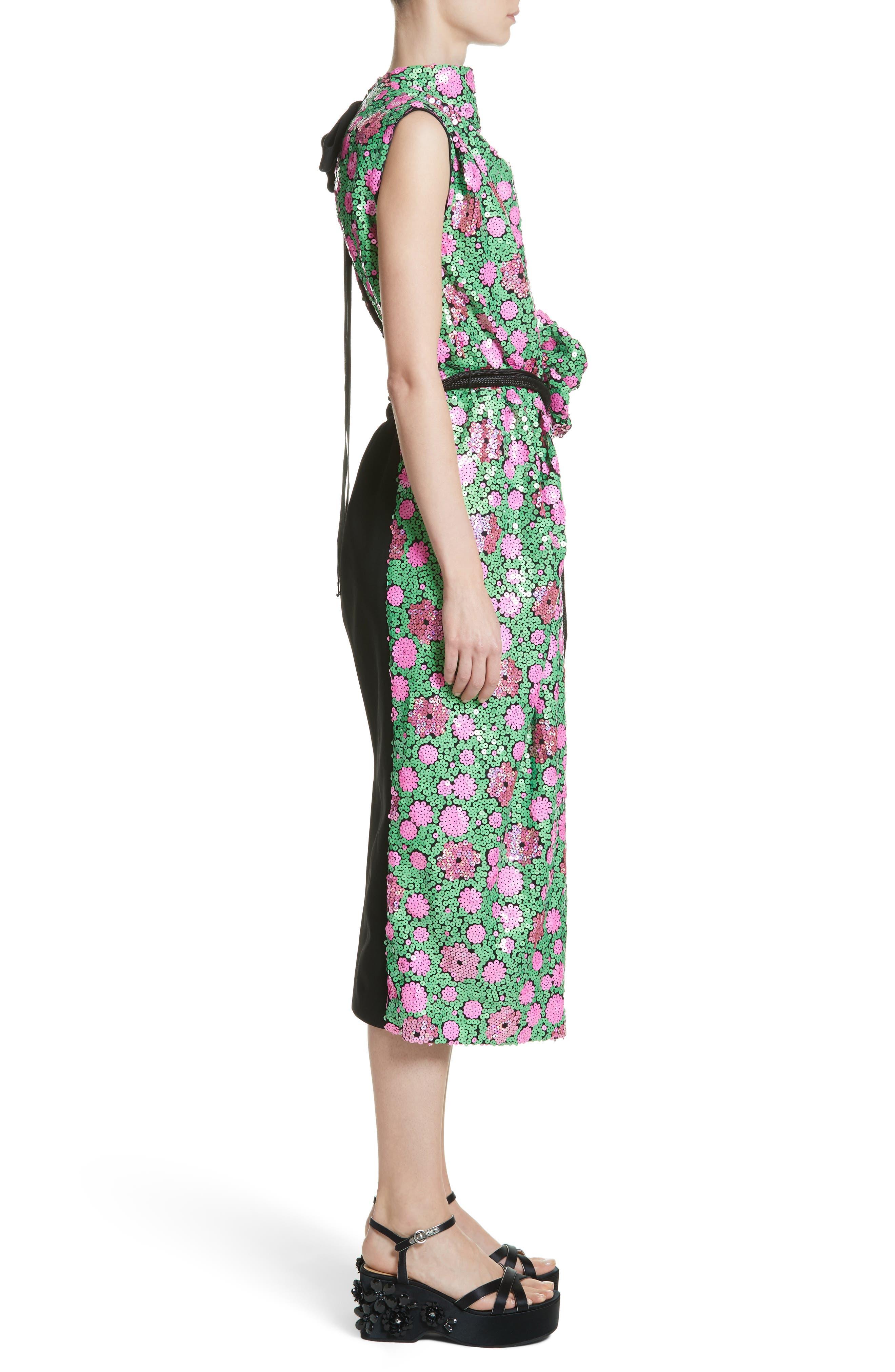 Floral Sequin Midi dress,                             Alternate thumbnail 3, color,                             300