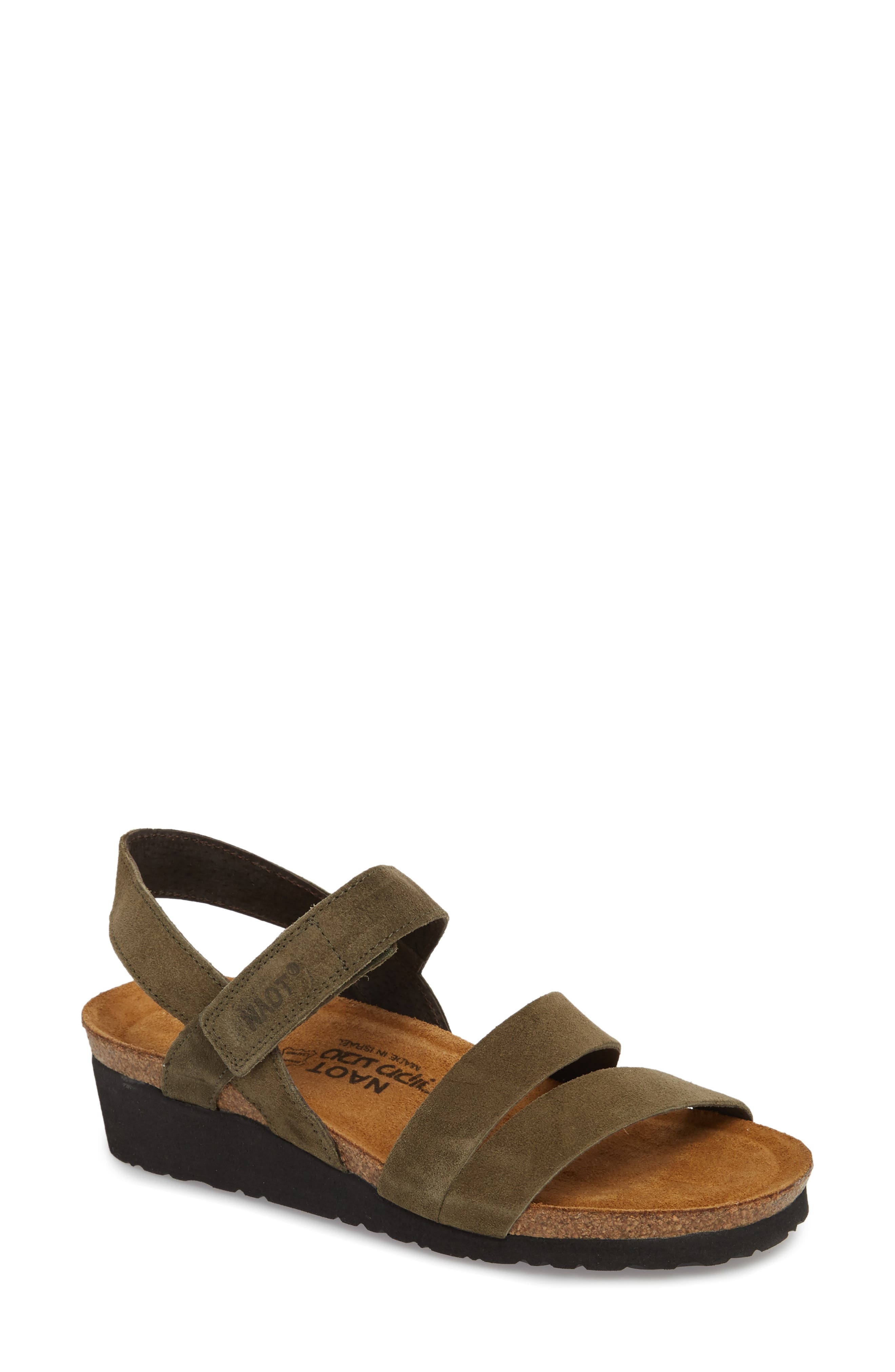 'Kayla' Sandal,                             Main thumbnail 1, color,                             OILY OLIVE SUEDE