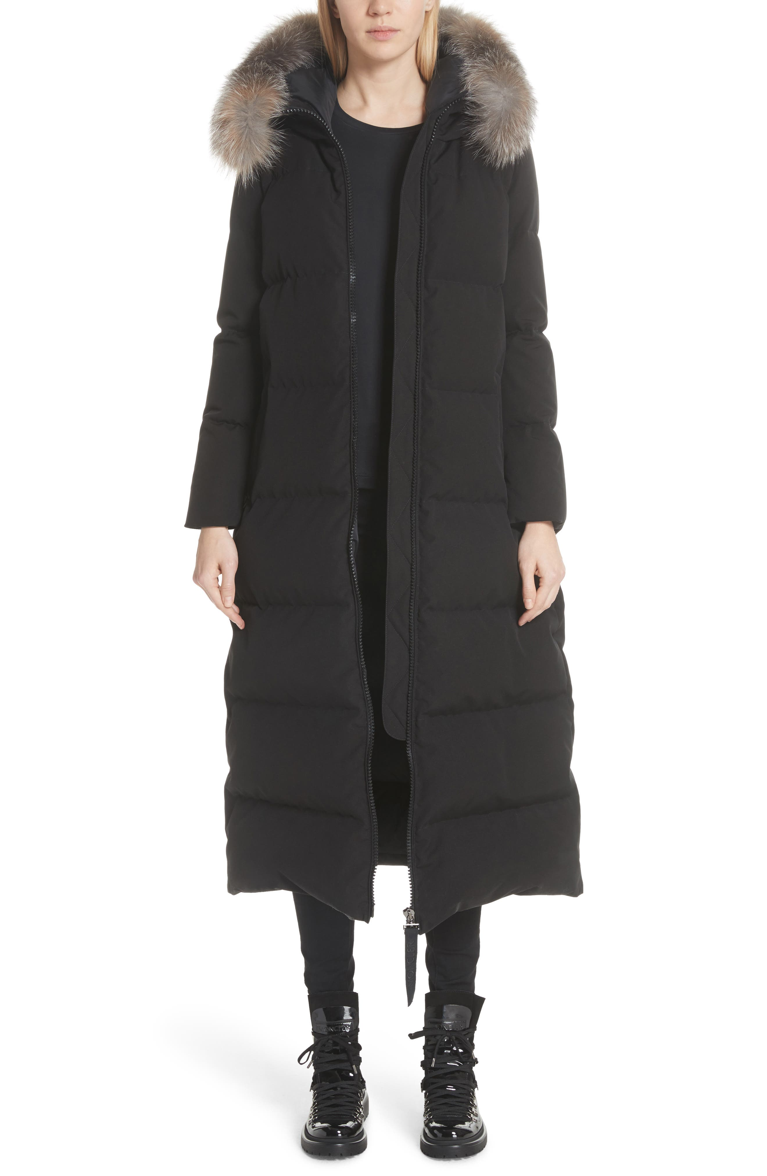 Bernache Hooded Down Coat with Removable Genuine Fox Fur Trim,                             Main thumbnail 1, color,                             BLACK