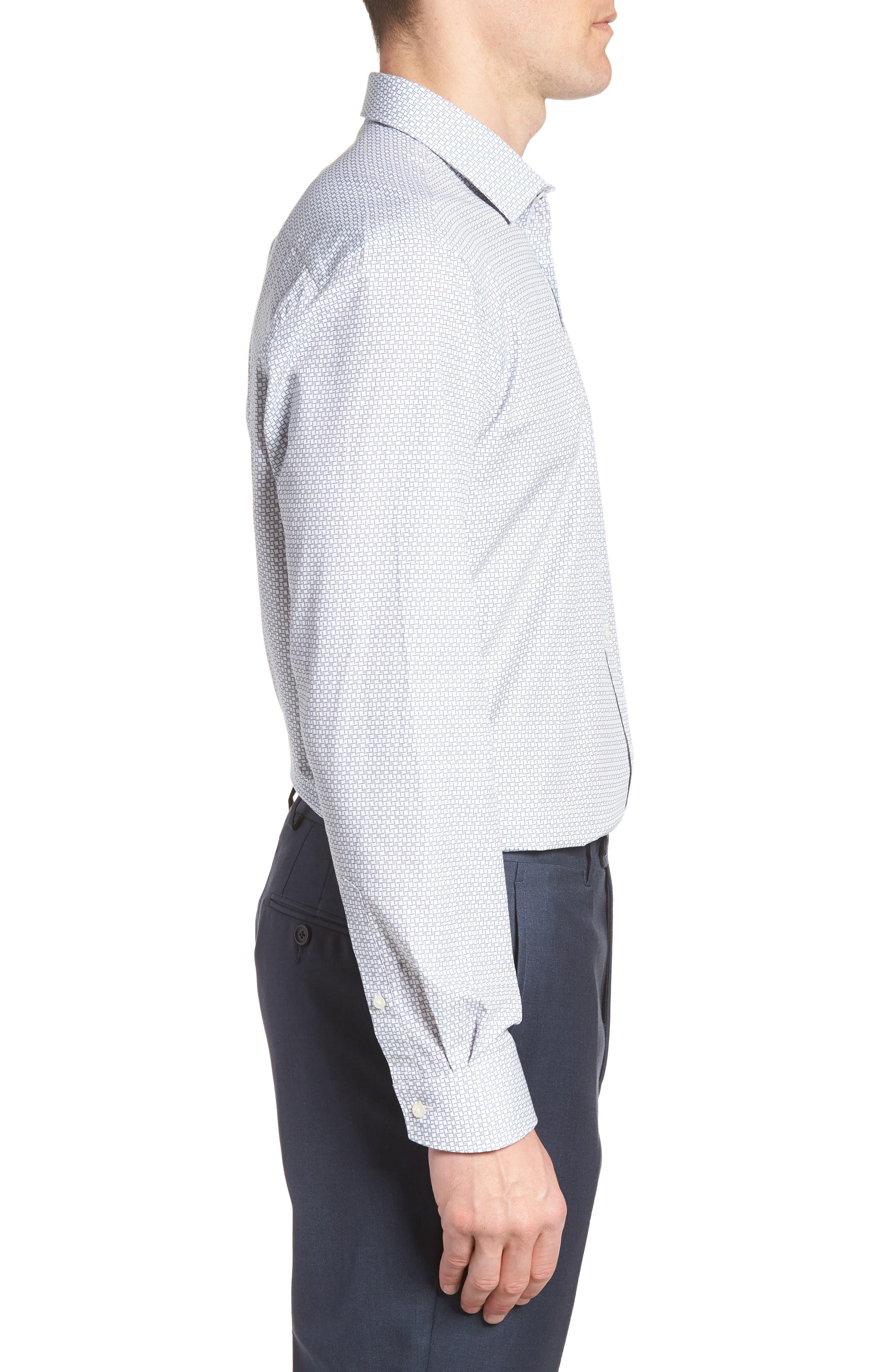 Rosprim Trim Fit Geometric Dress Shirt,                             Alternate thumbnail 4, color,                             GREY