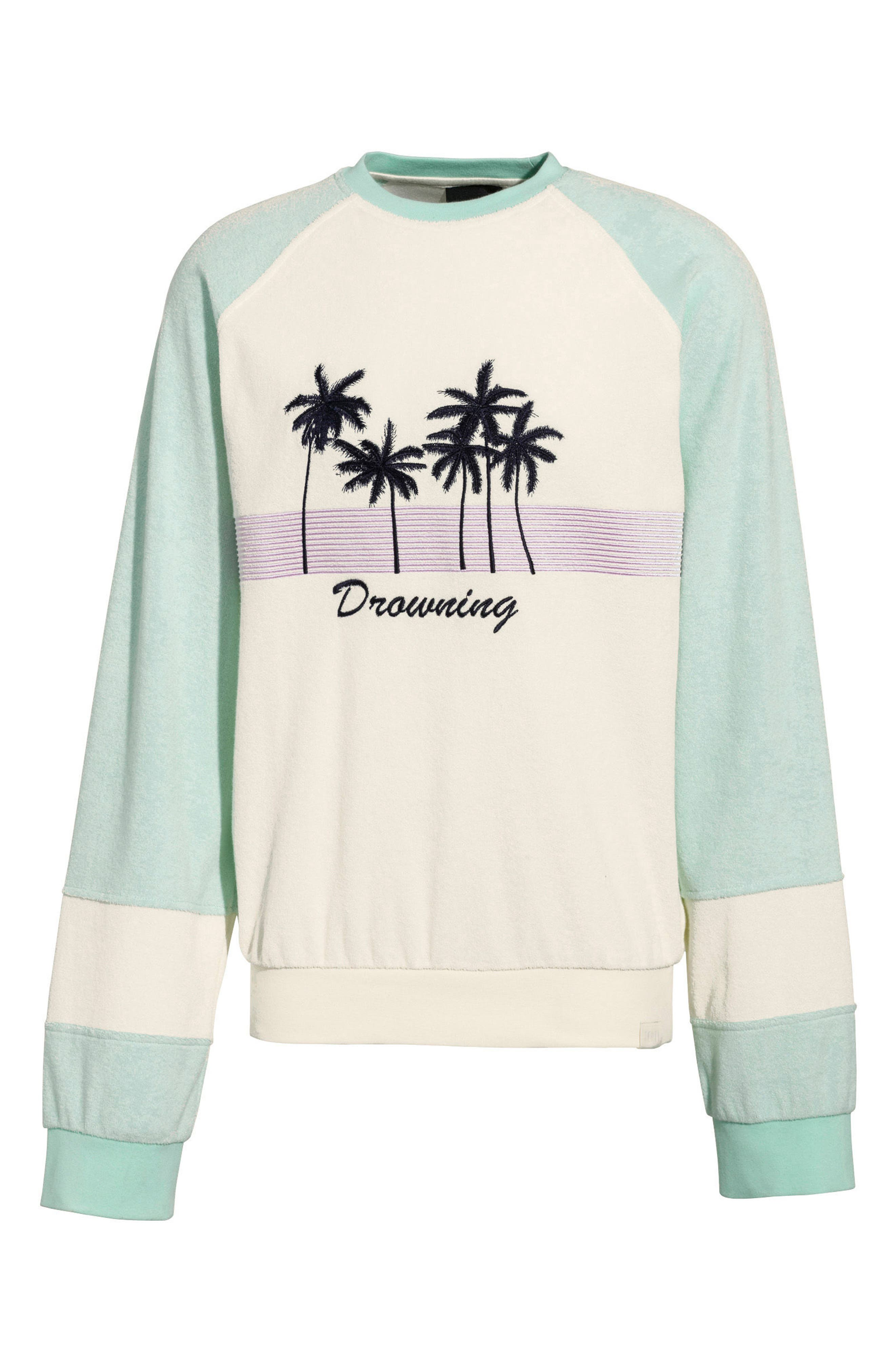 PUMA by Rihanna Palm Graphic Terry Cloth Sweater,                         Main,                         color, 100