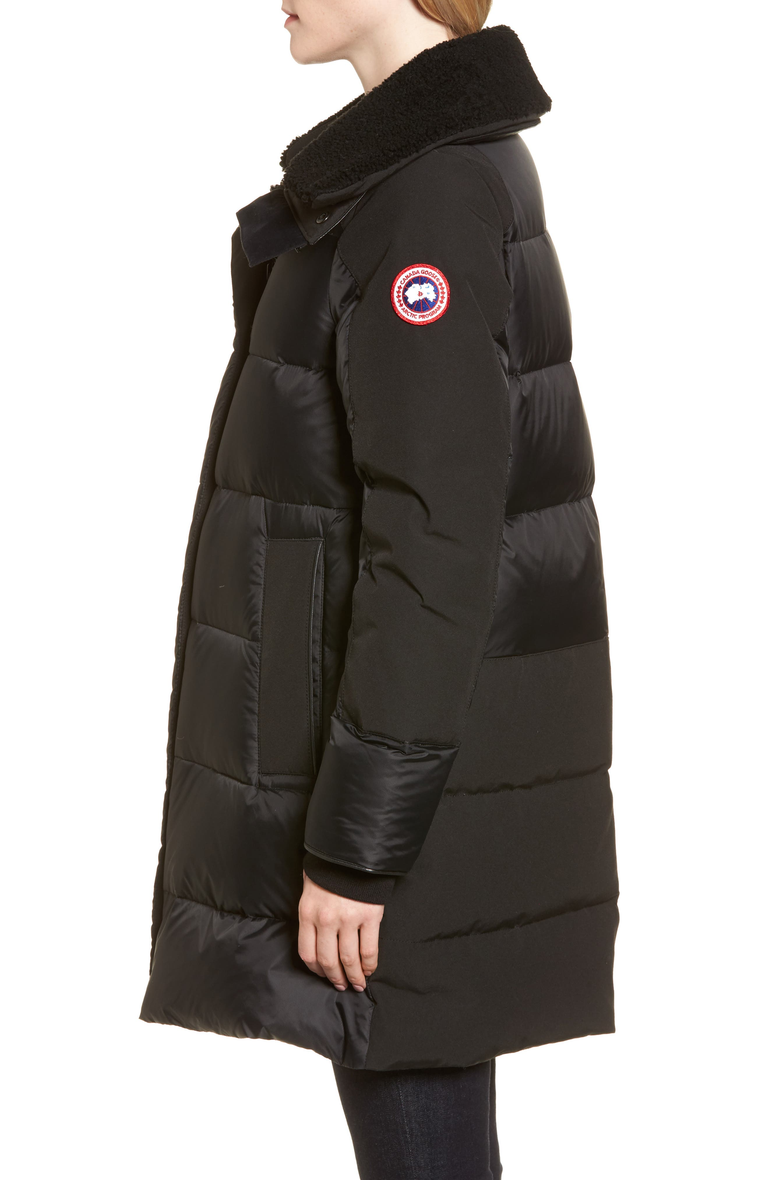 Altona Water Resistant 750-Fill Power Down Parka with Genuine Shearling Collar,                             Alternate thumbnail 3, color,                             BLACK