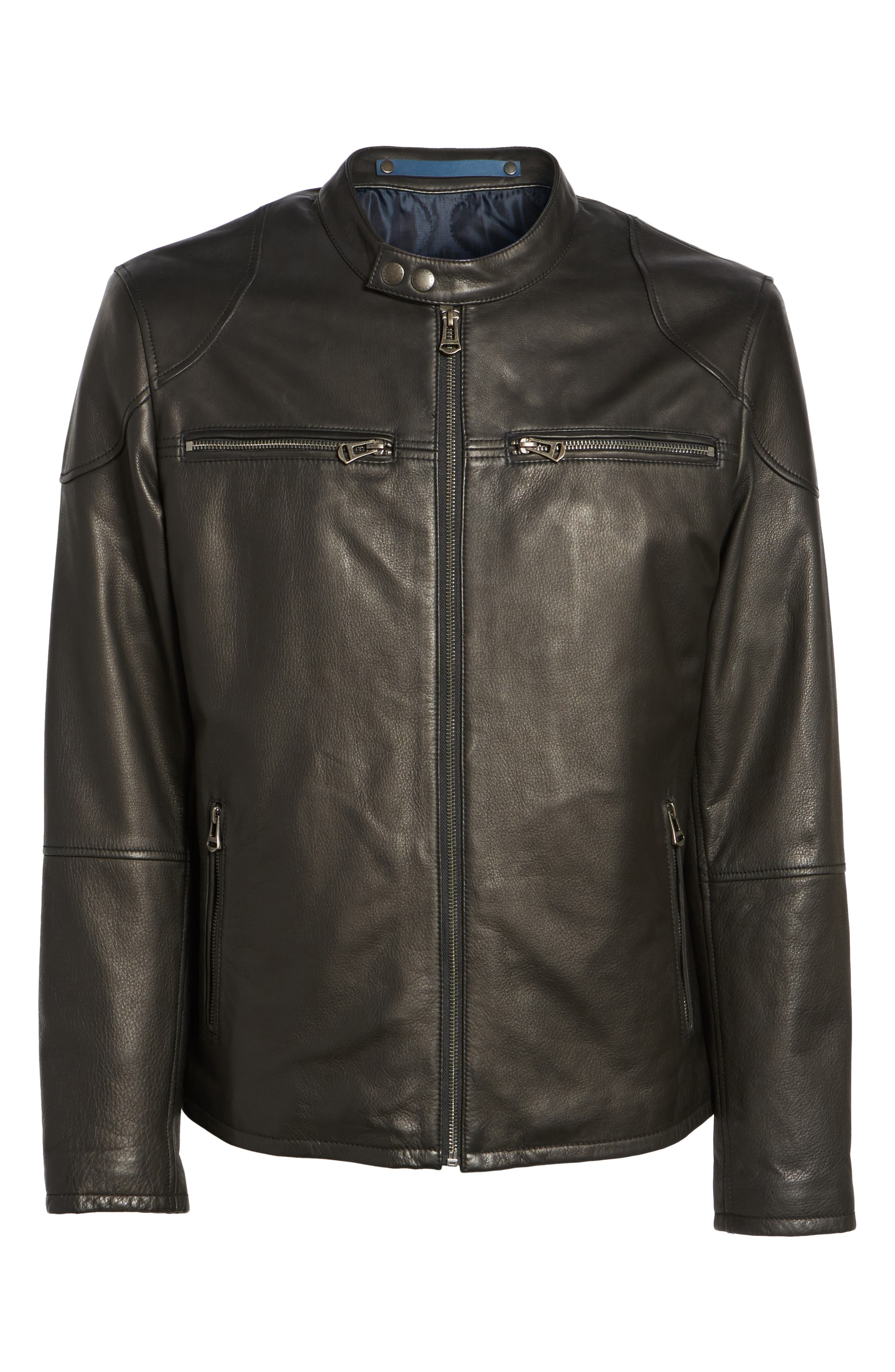 Leather Zip Front Moto Jacket,                             Alternate thumbnail 5, color,                             001