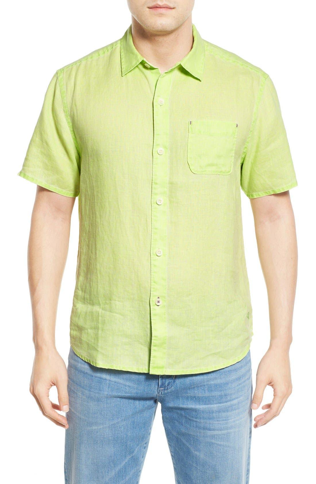 Seaglass Breezer Short Sleeve Linen Sport Shirt,                             Main thumbnail 6, color,