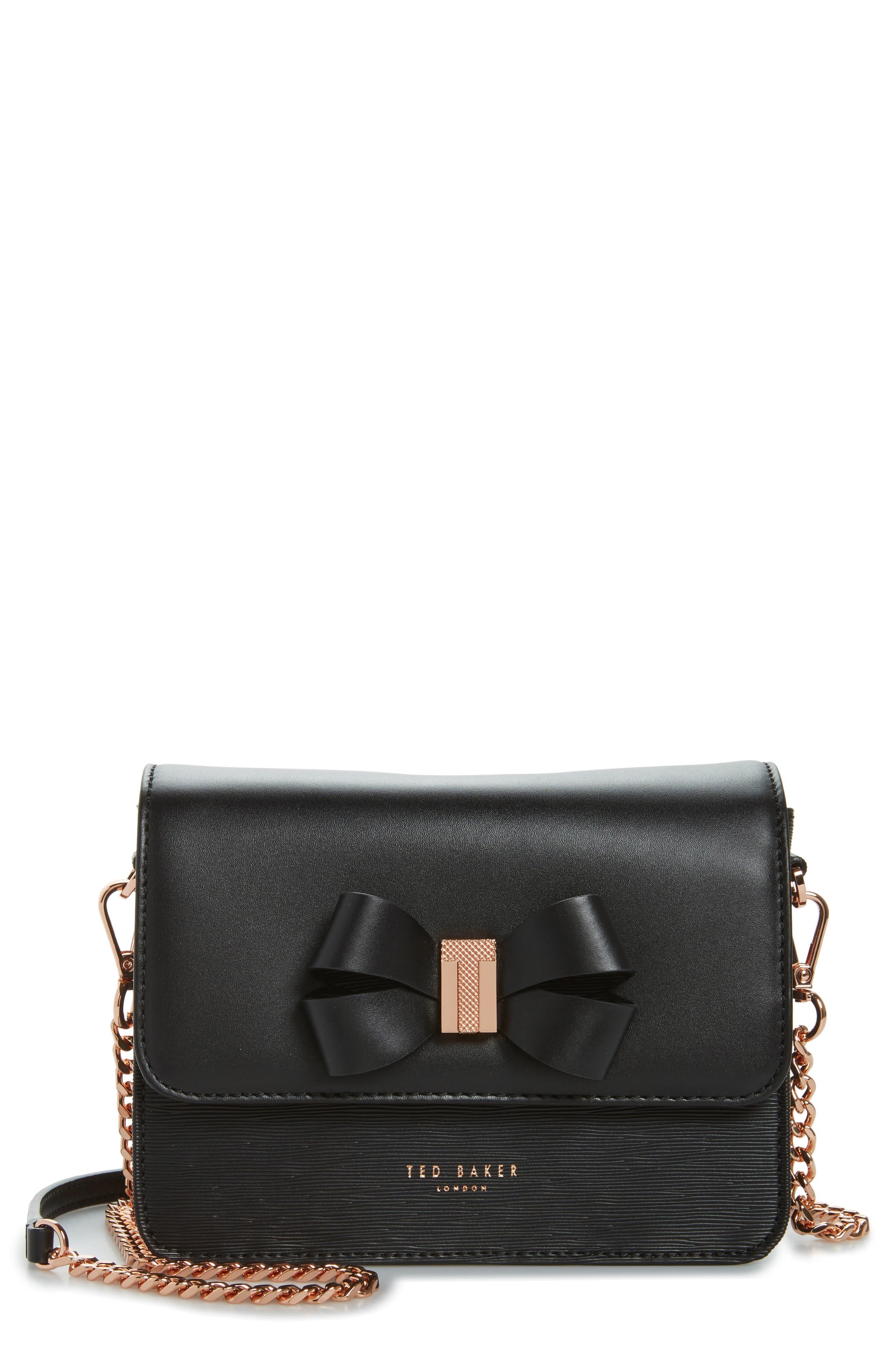 Callih Bow Leather Crossbody Bag,                         Main,                         color, 001
