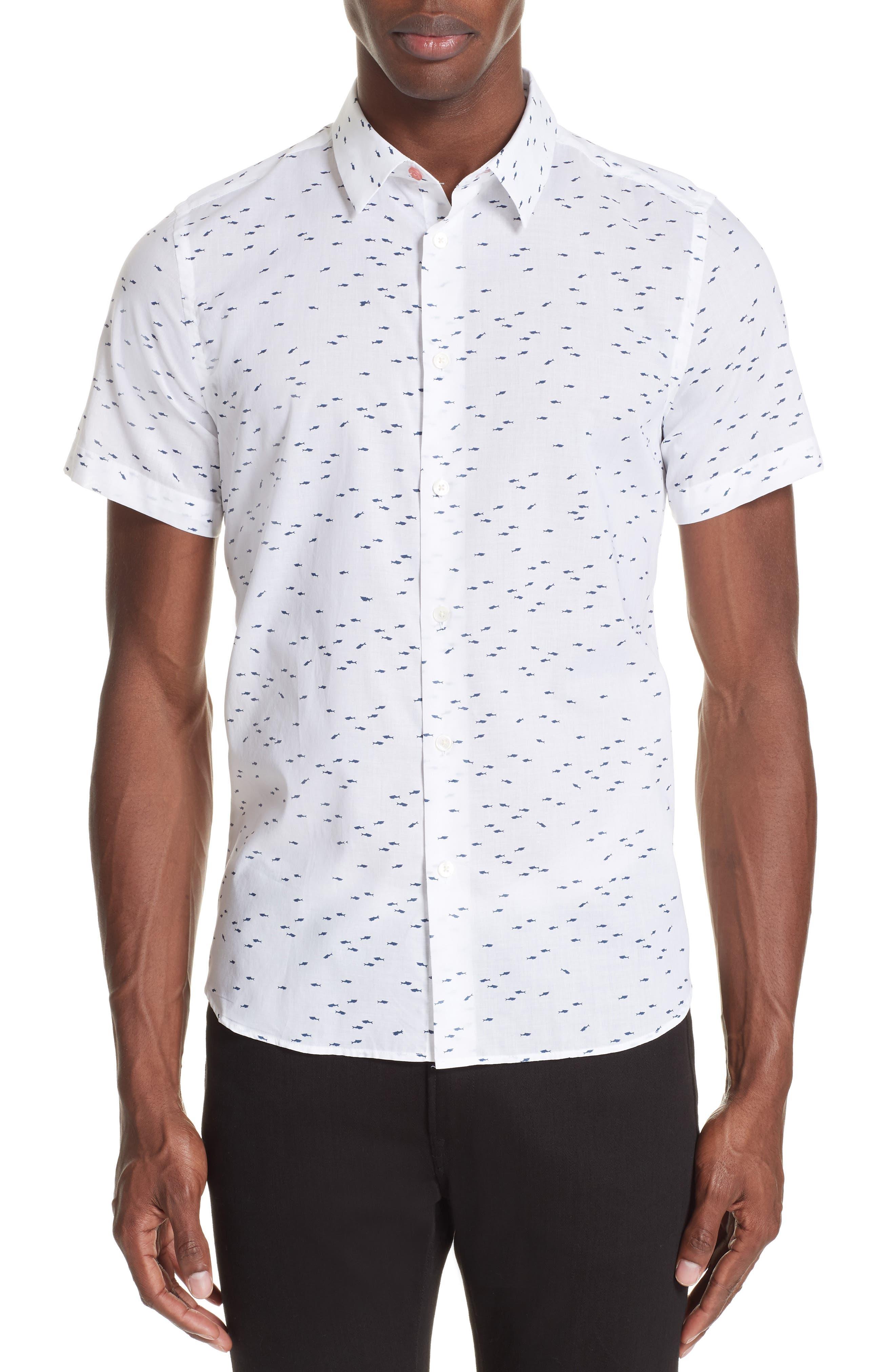 Shark Print Shirt,                         Main,                         color, 035