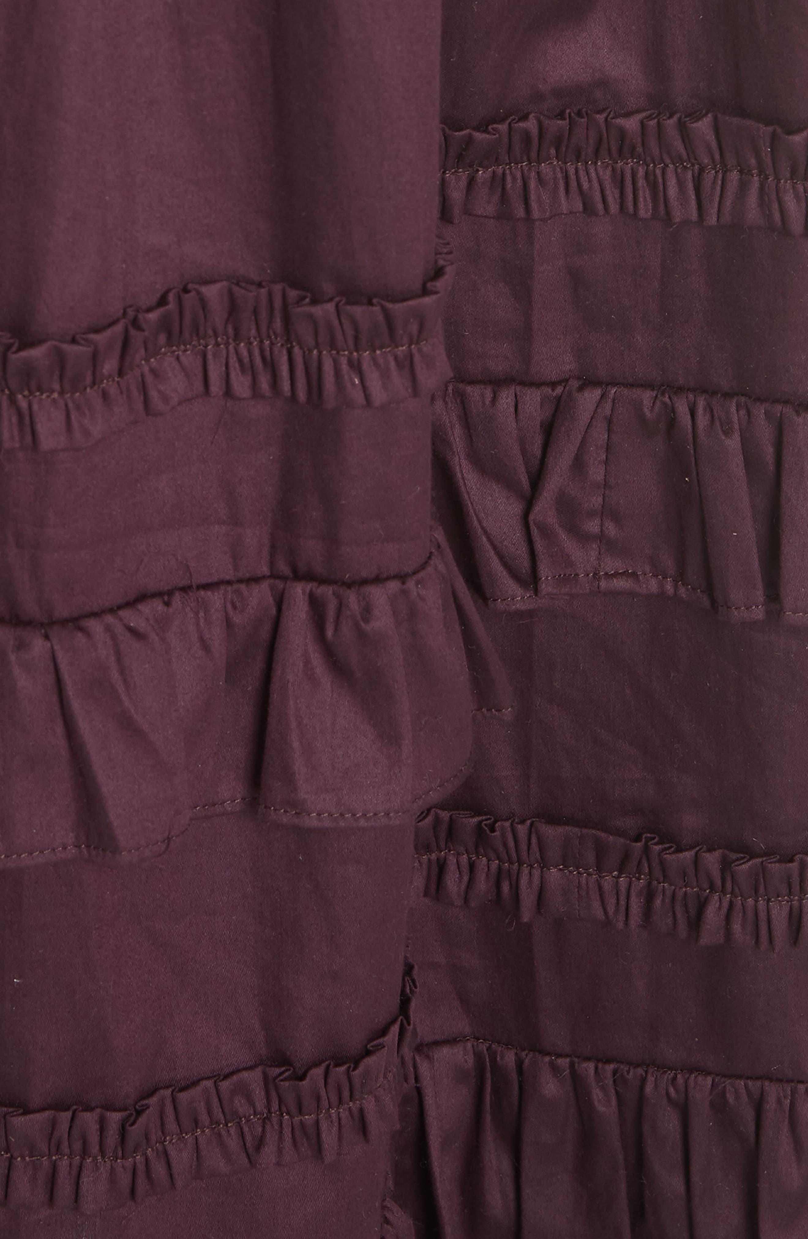 Cold Shoulder Smocked Cotton Dress,                             Alternate thumbnail 6, color,                             PLUM