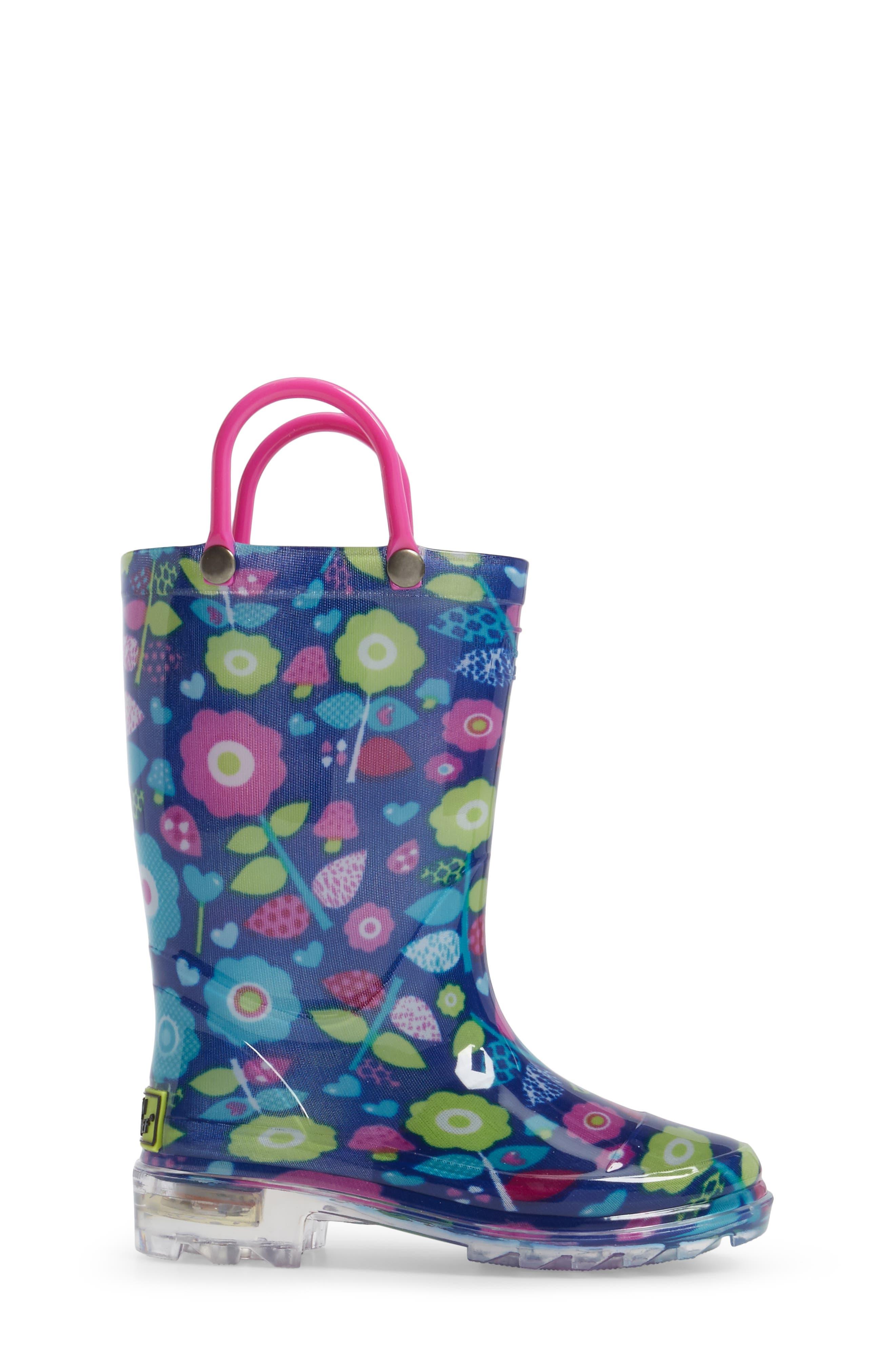 Pop Flower Light-Up Rain Boot,                             Alternate thumbnail 3, color,