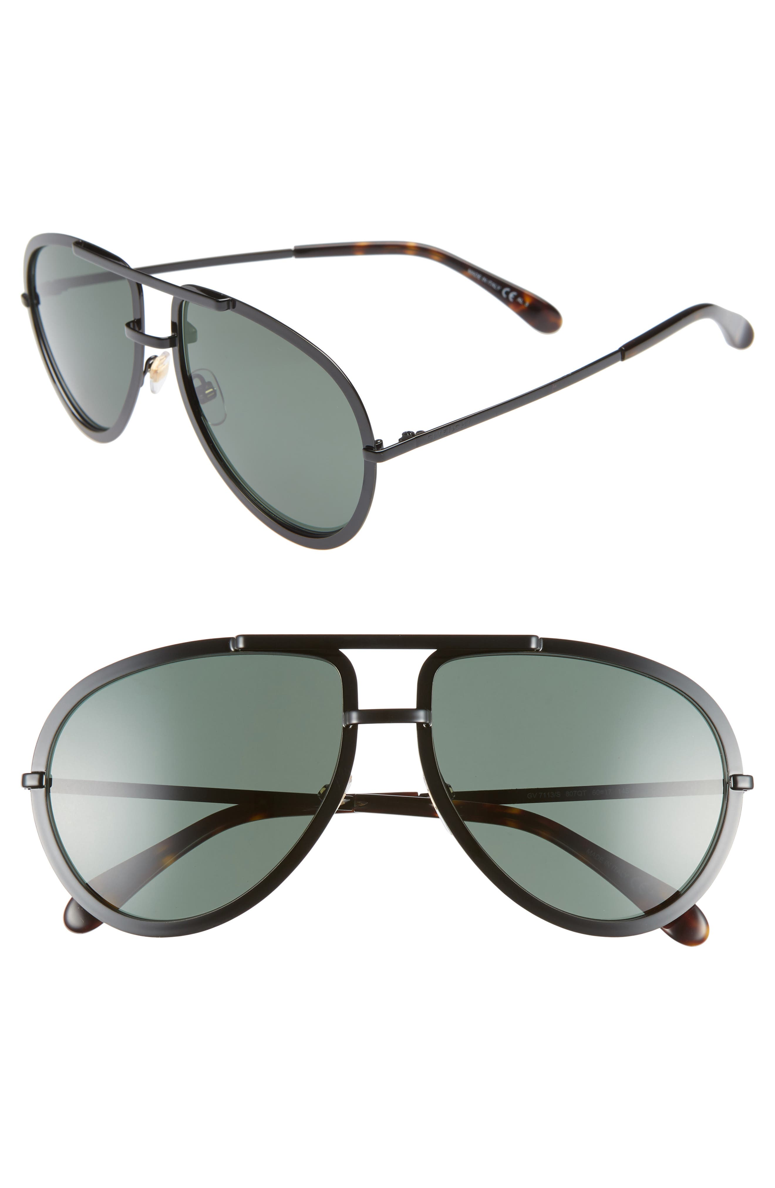 60mm Aviator Sunglasses,                         Main,                         color, BLACK